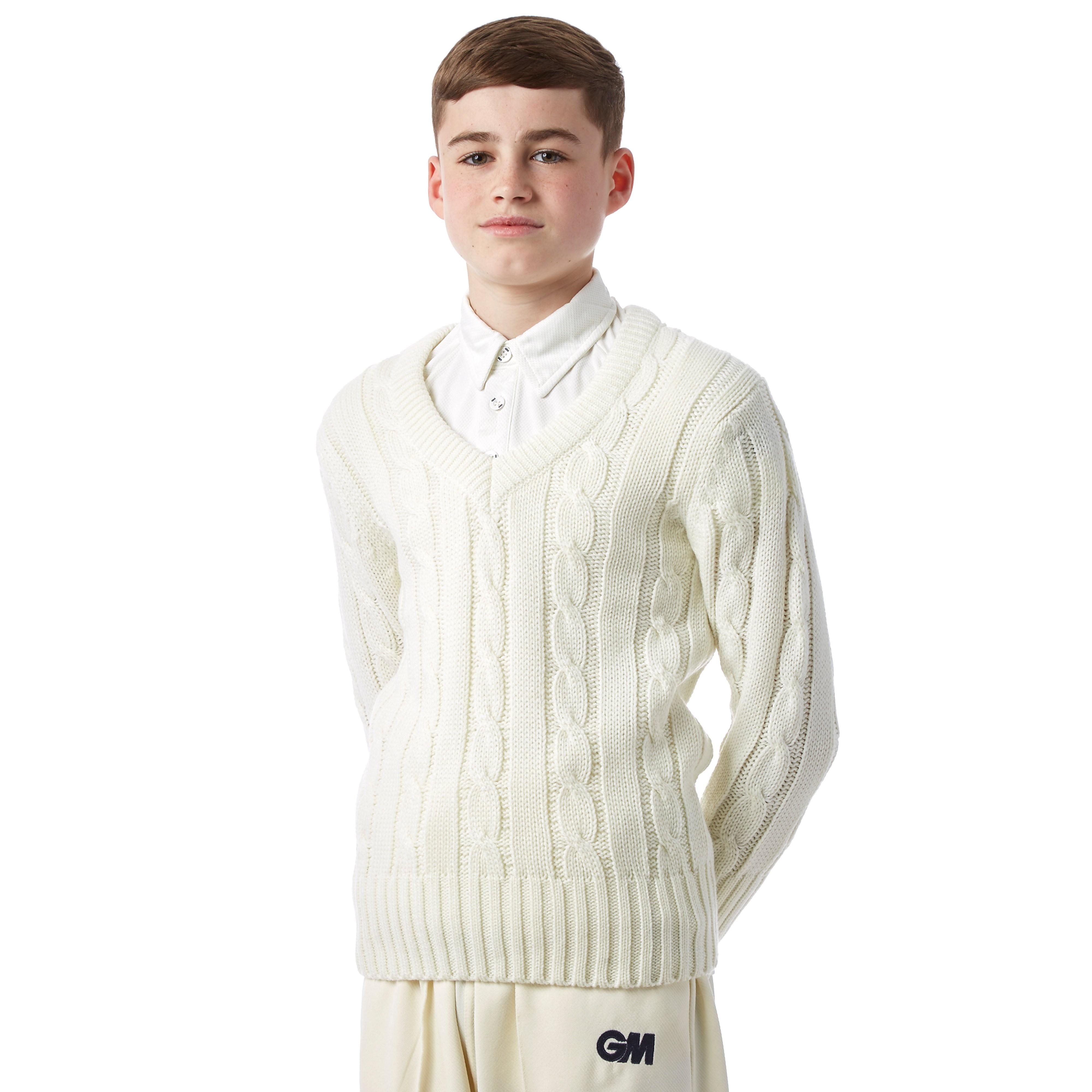 Gunn & Moore Long Sleeved Plain Sweater Junior Cricket Top