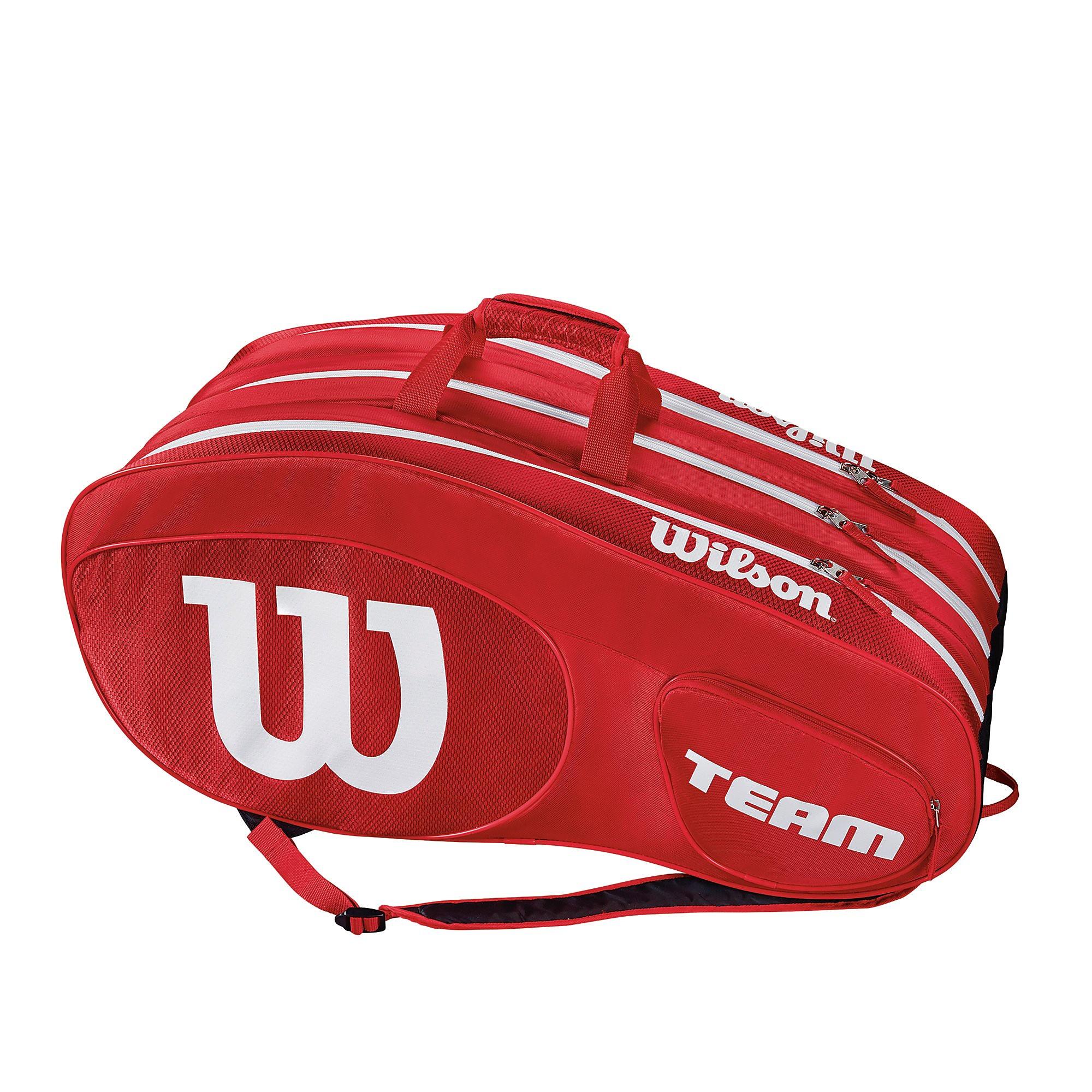 Men's Wilson Team III 12 Pack Tennis Racket Bag - Red, Red