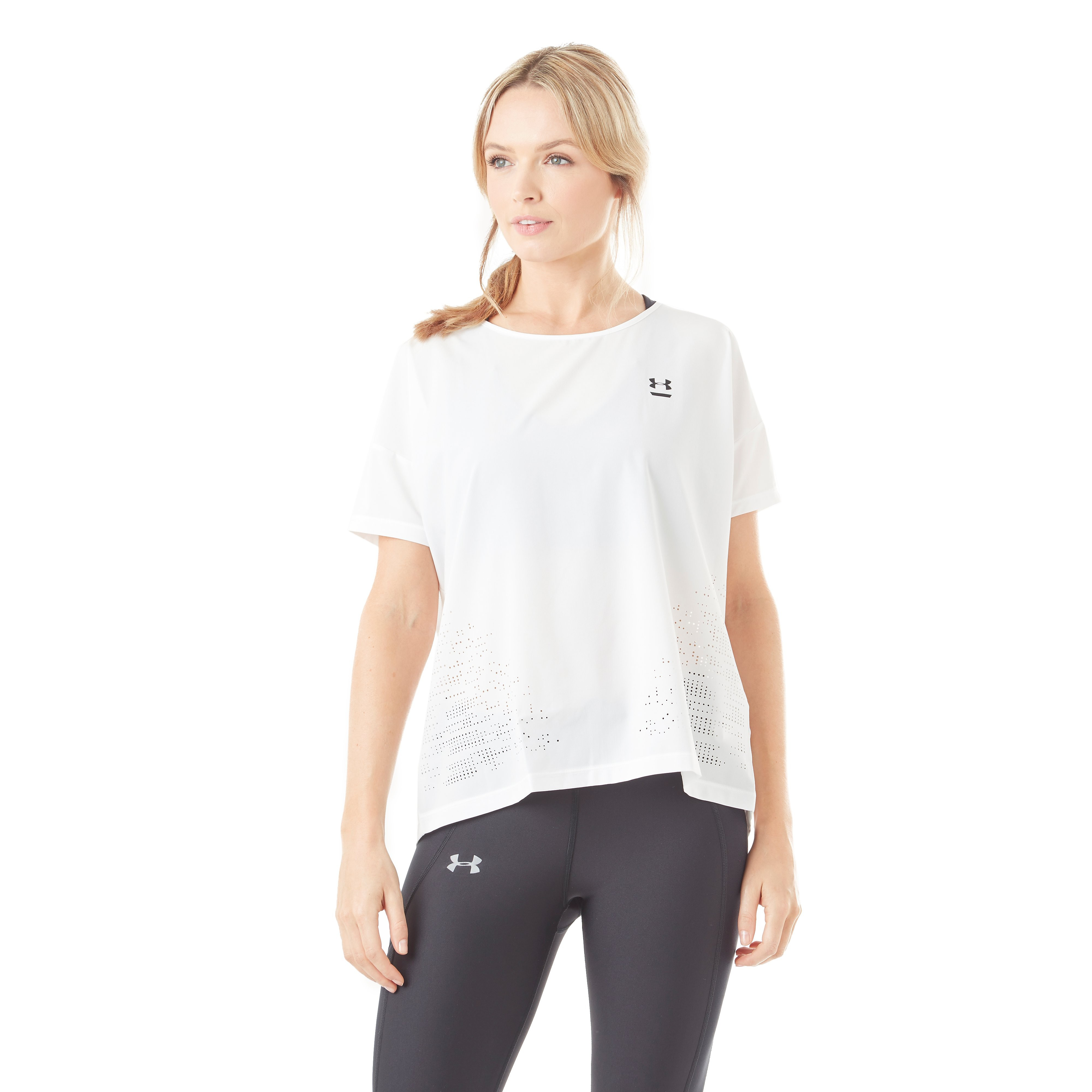 Womens White Under Armour Perpetual Woven Training T-Shirt