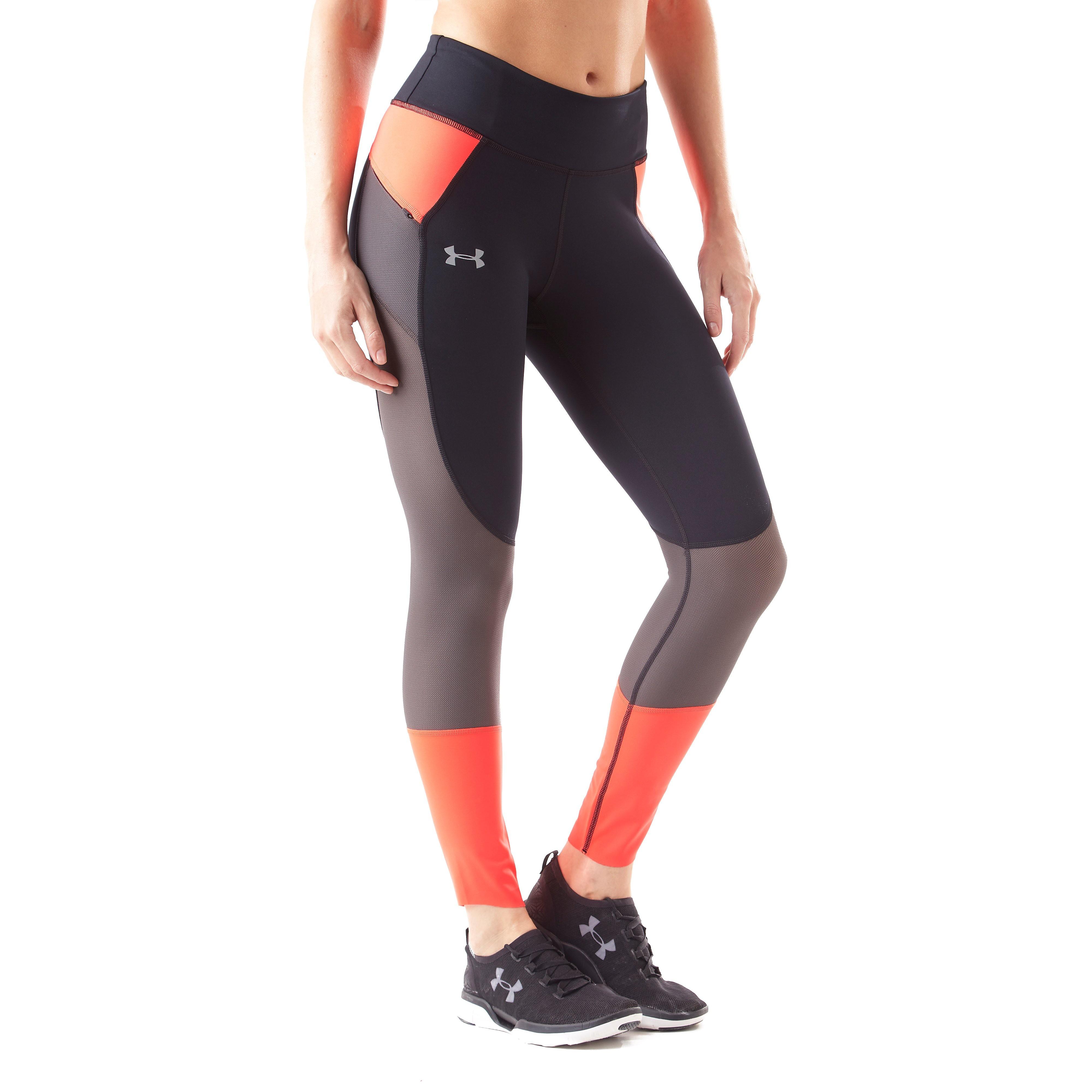Womens Black Under Armour Speedpocket Run Crop Running Tights