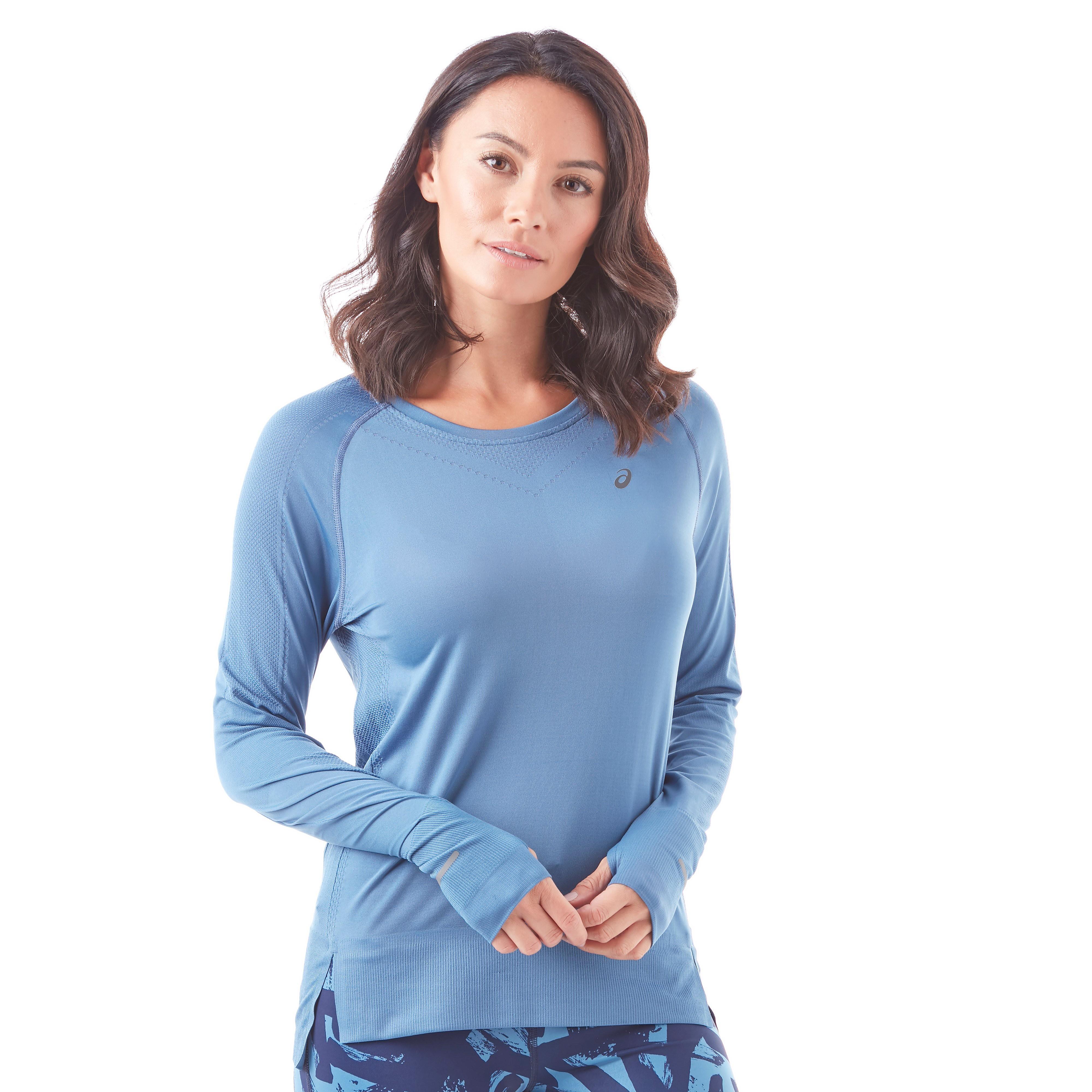 Womens Blue ASICS Seamless Long Sleeve Training Top, Blue