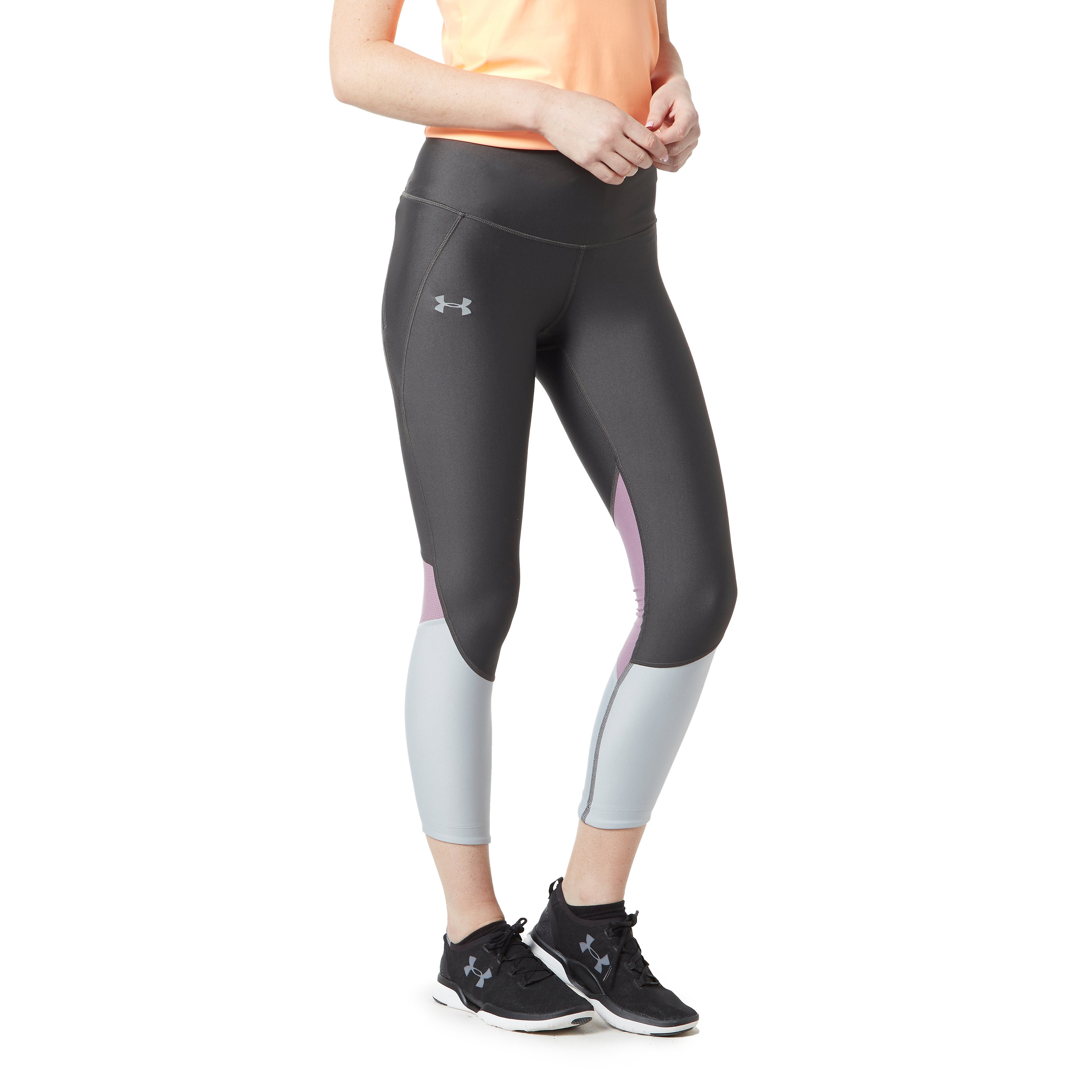 Womens Grey Under Armour Colour Block Training Tights