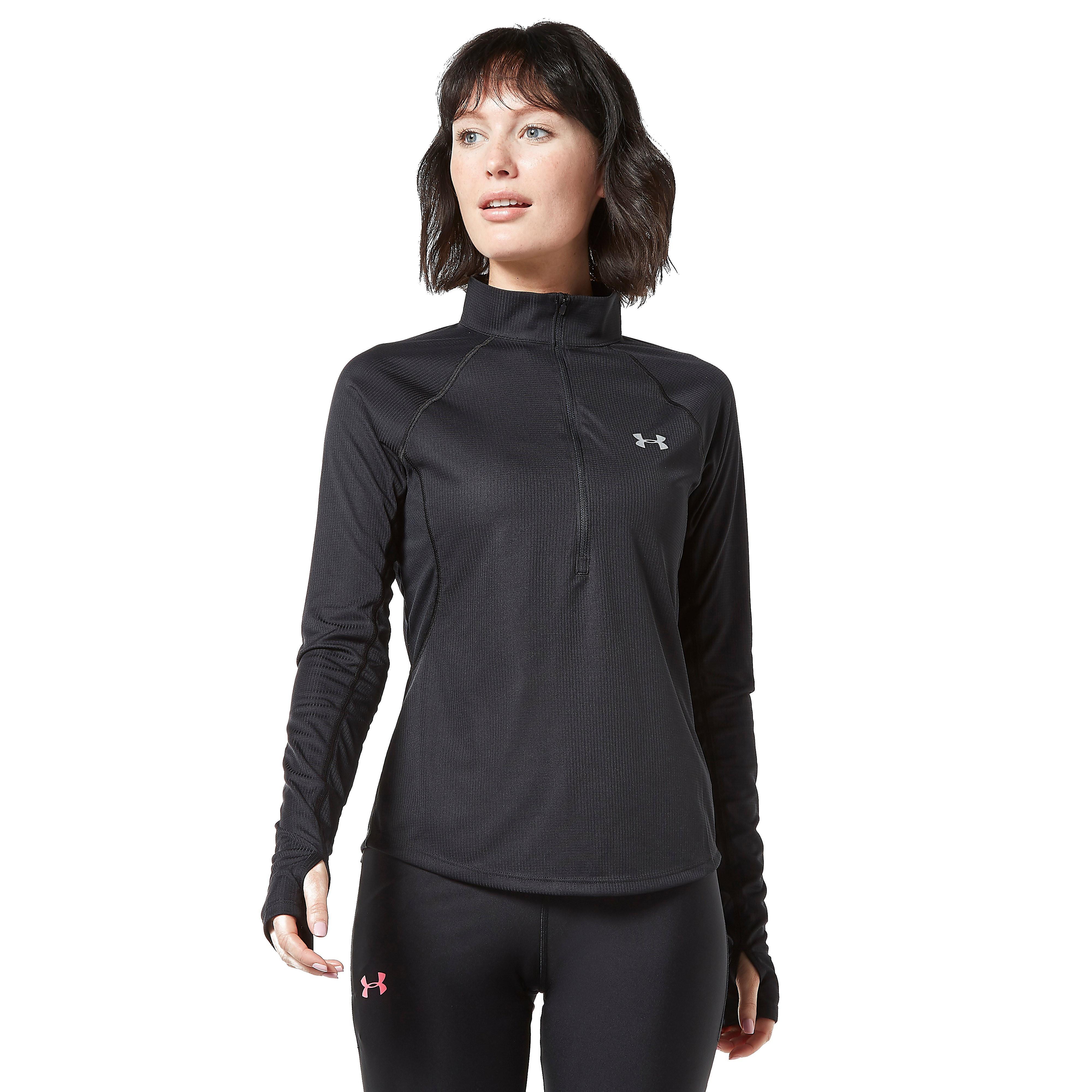 Womens Black Under Armour Speed Stride 1/2 Zip Running Top
