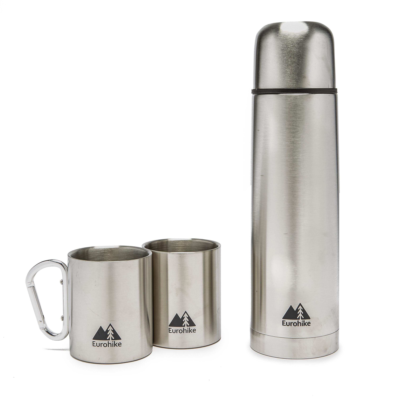 EUROHIKE 0.75L Flask And 2 Karabiner Mugs