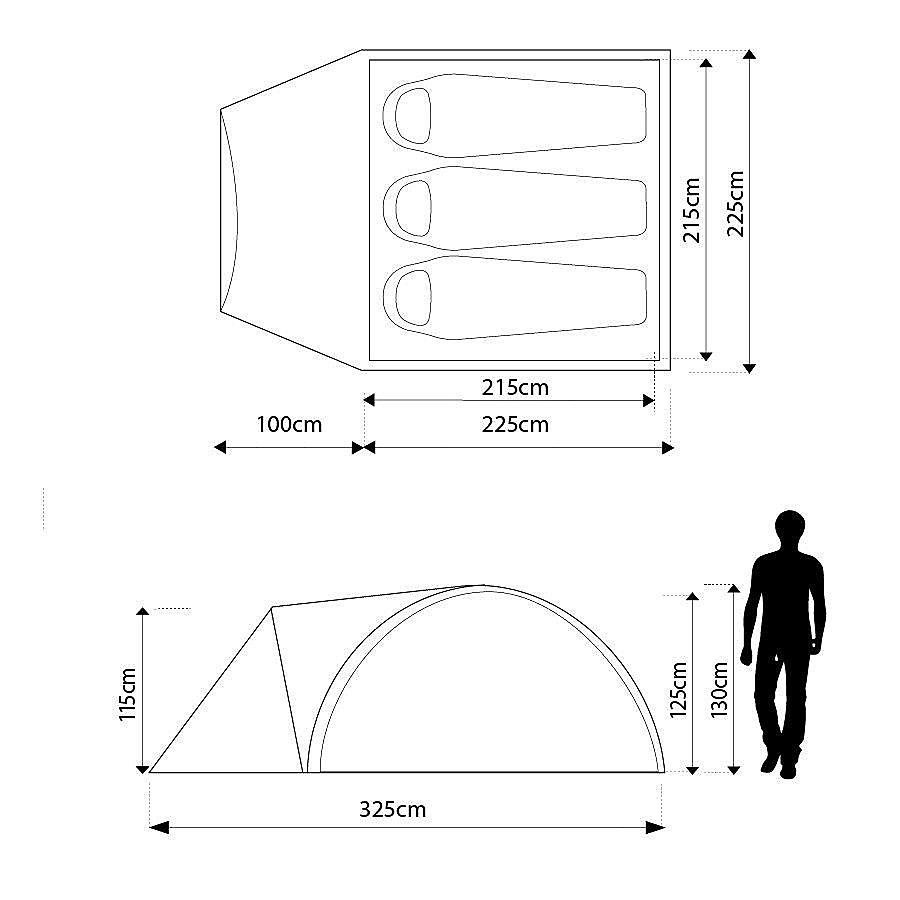 EUROHIKE Cairns 3 Man Deluxe Tent