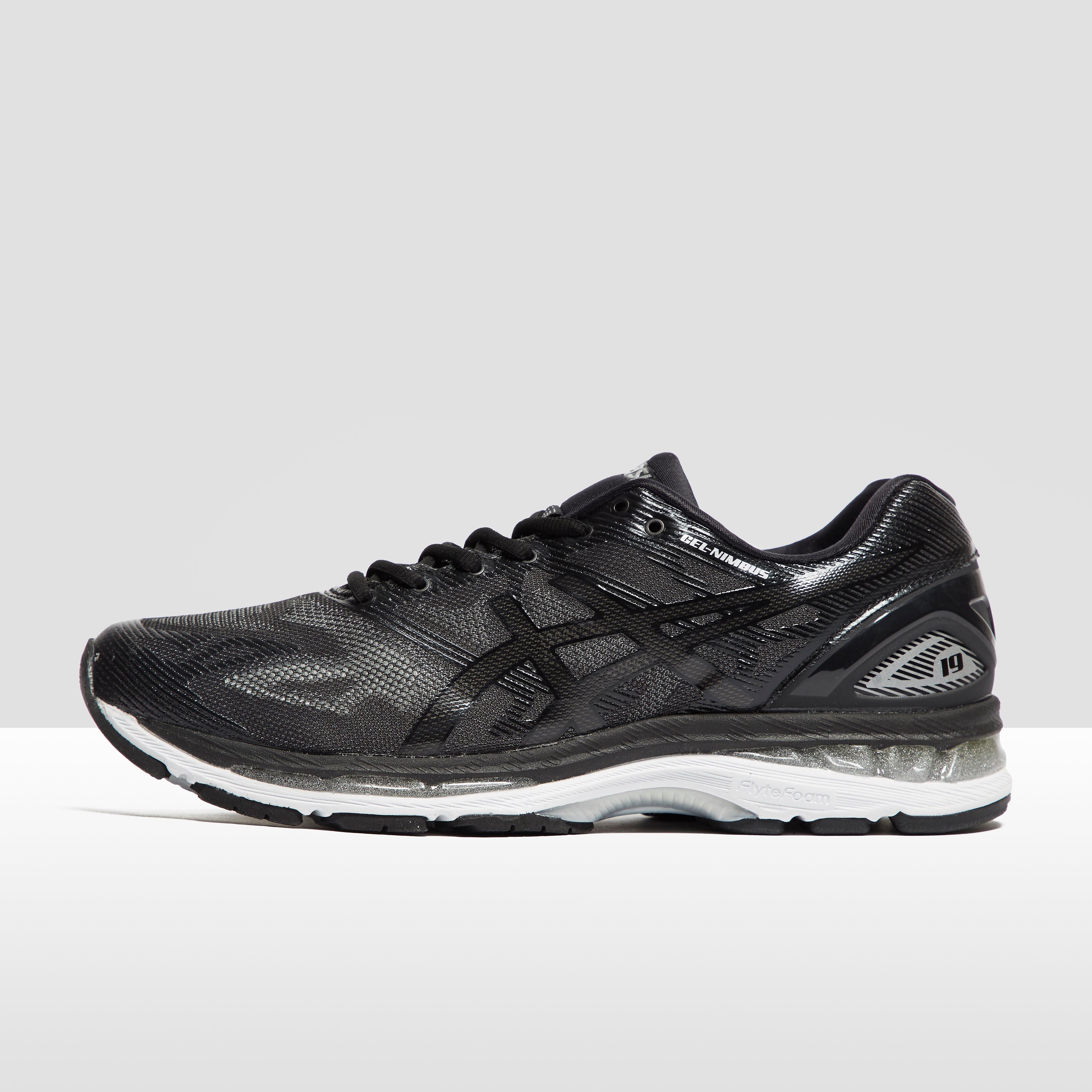 Men's ASICS Gel-Nimbus 19 Running Shoes - Black/White, Black
