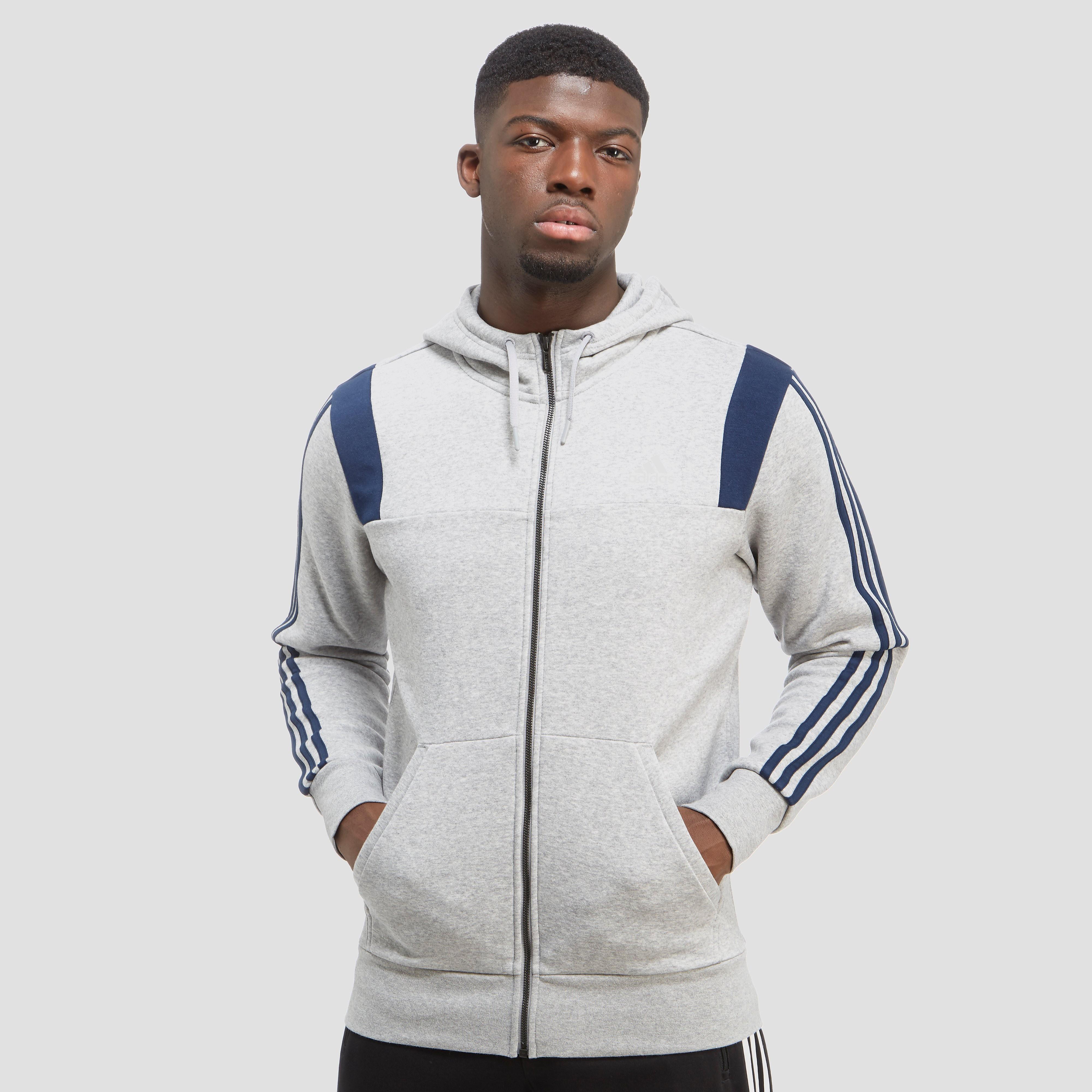 adidas 3-Stripe Essential Colour Block Full Zip Men's Hoodie