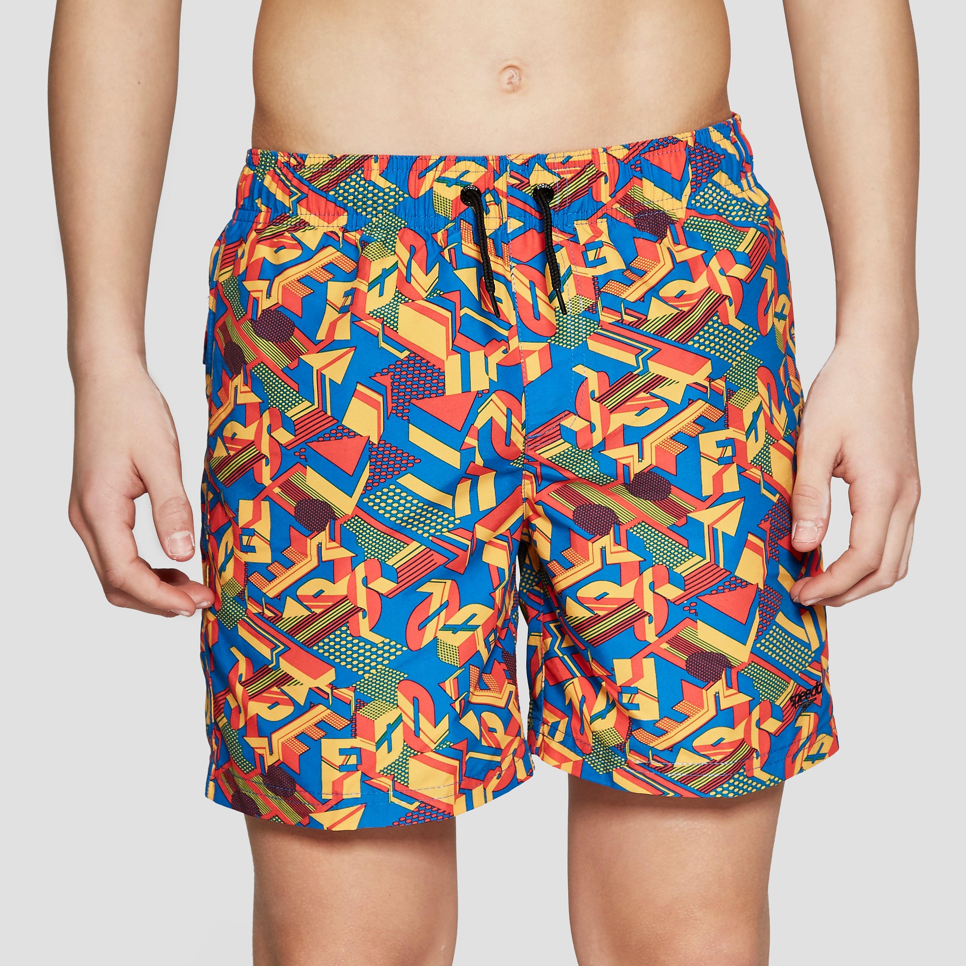 "Speedo Clash Block Printed 15"" Junior Swimming Shorts"