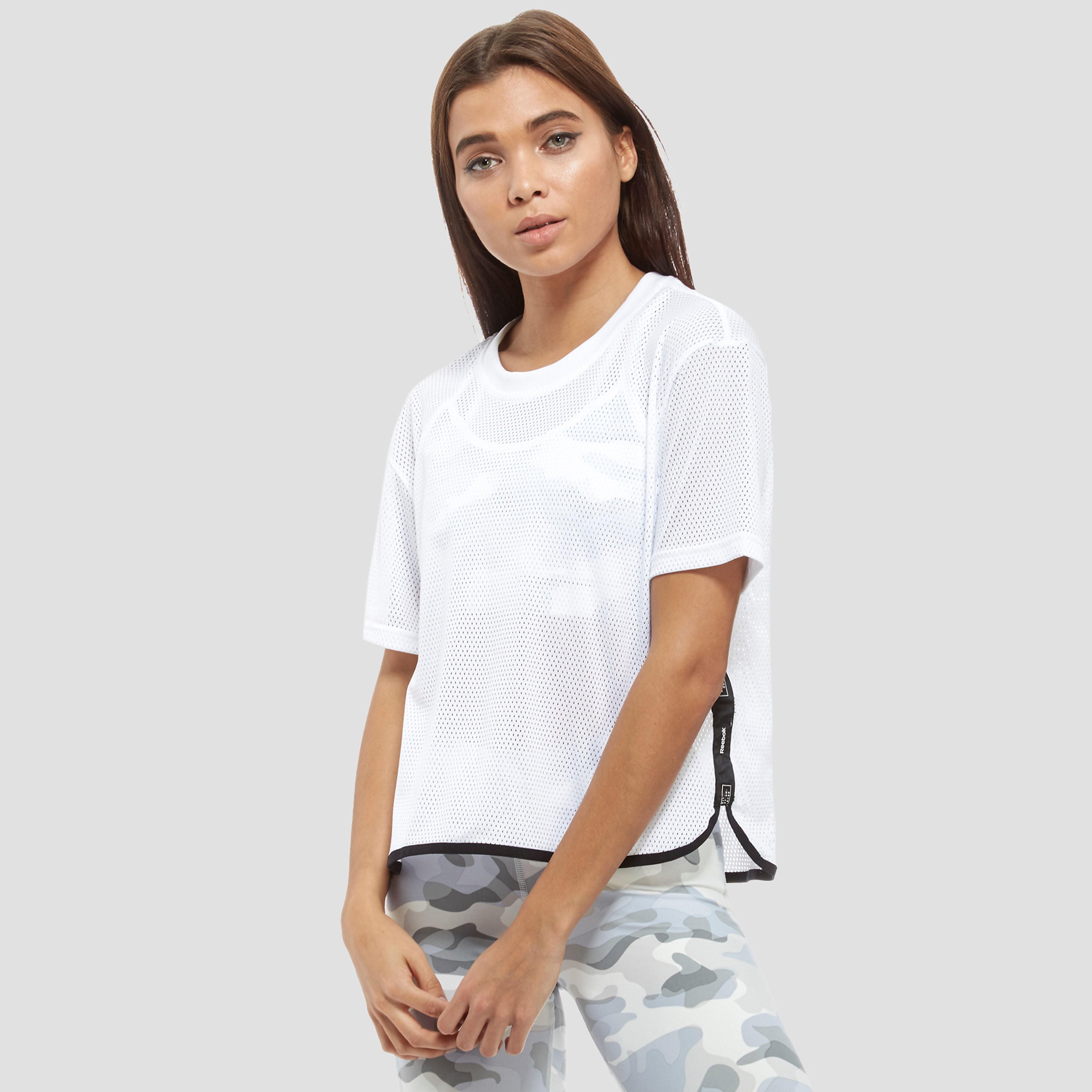 Women's Reebok Tape Mesh T-Shirt - White, White
