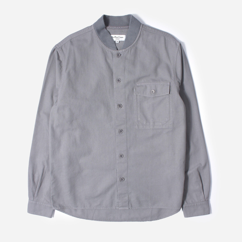 ymc delinquents rib collar shirt, grey/grey