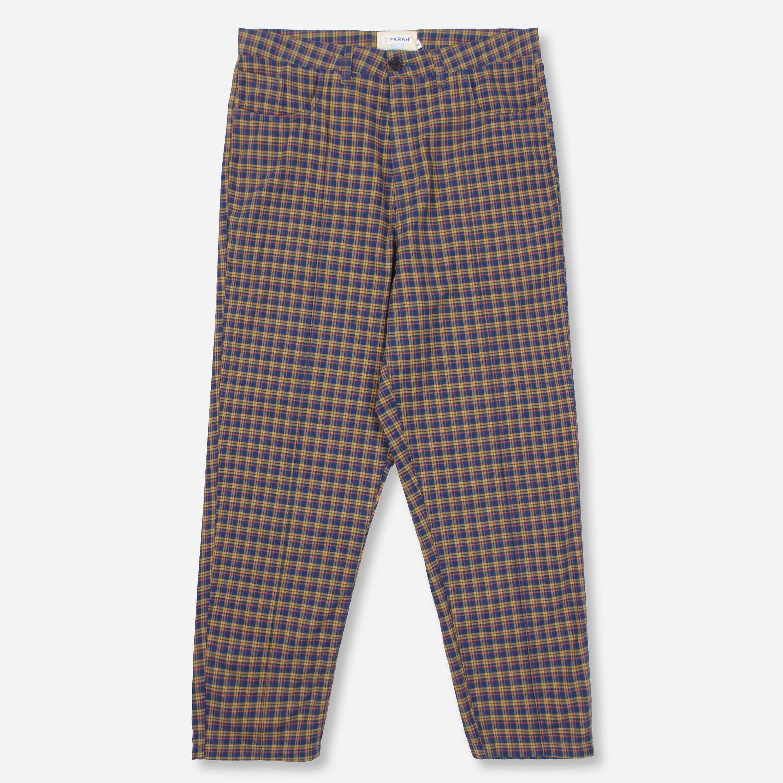 ymc x farah madras check trouser, blue/blu