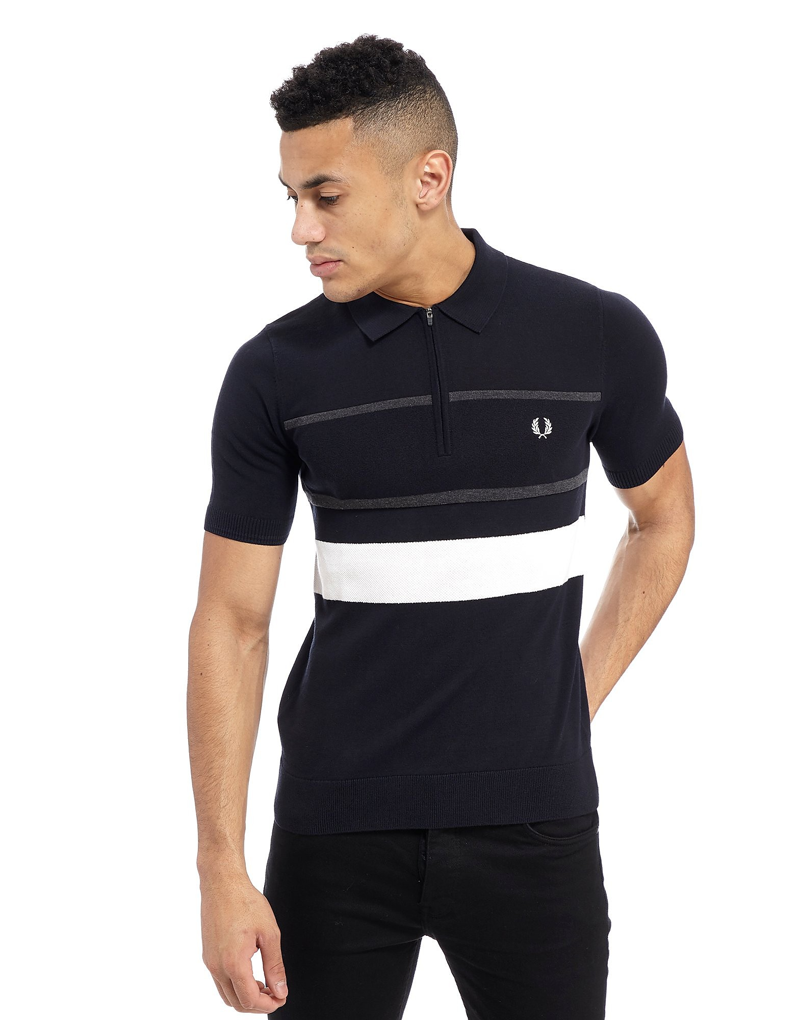 Fred Perry Textured Knit Zip Neck Polo Shirt