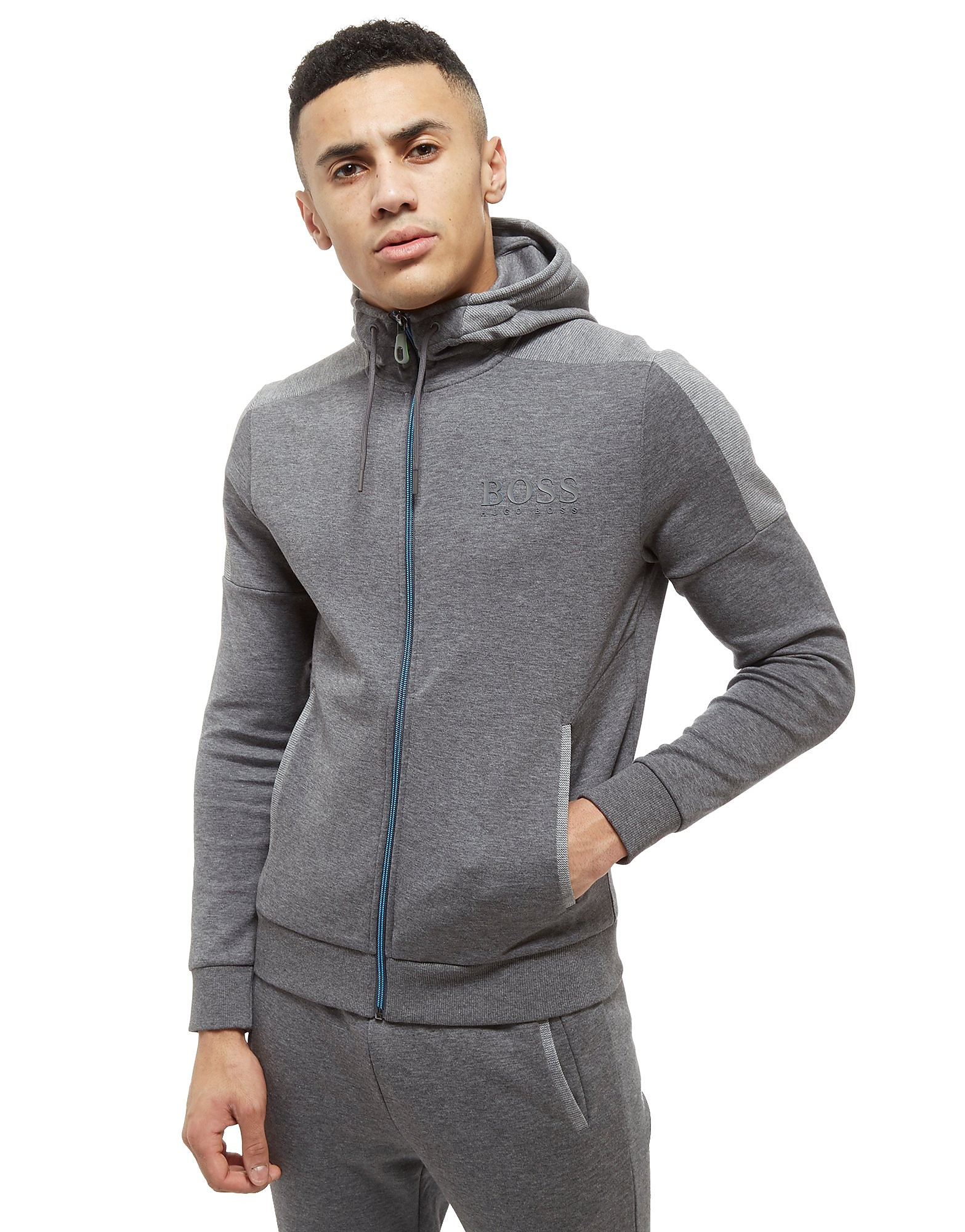BOSS Green Saggy Zip Through Hoodie Heren - Grijs - Heren