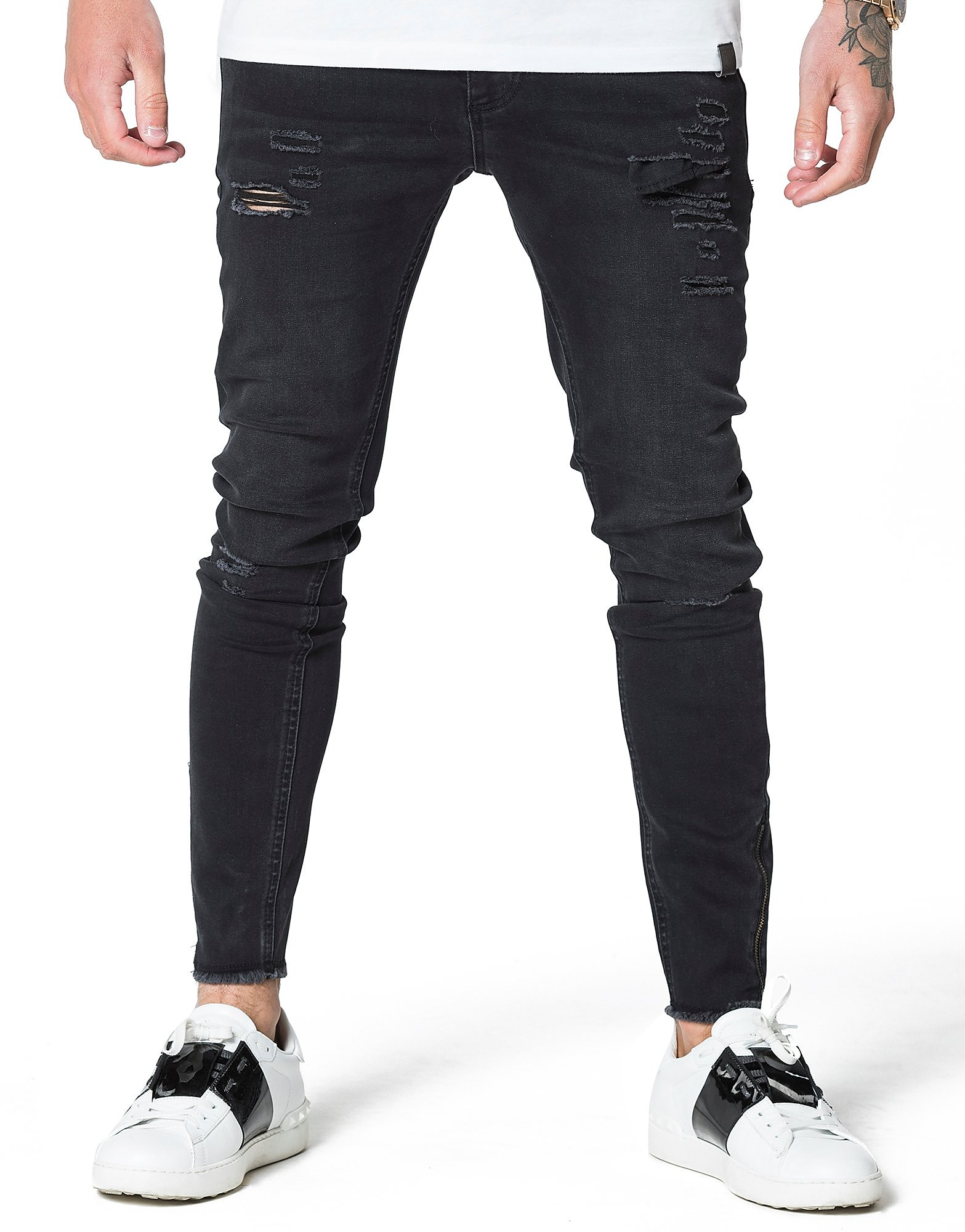 Image de 11 Degrees Ripped Knee Denim Jeans Homme - Black, Black