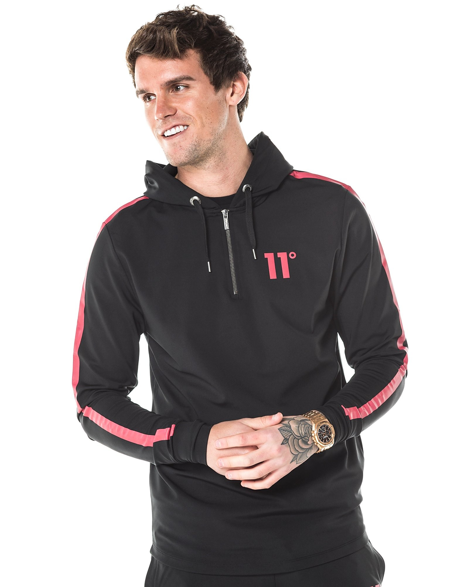 11 Degrees 1/4 Zip Poly Reflective Hoodie