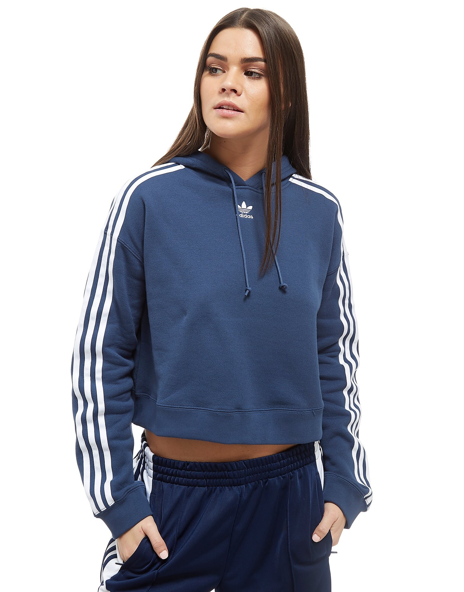 adidas Originals Cropped California Hoodie - Blue/White - Womens, Blue/White