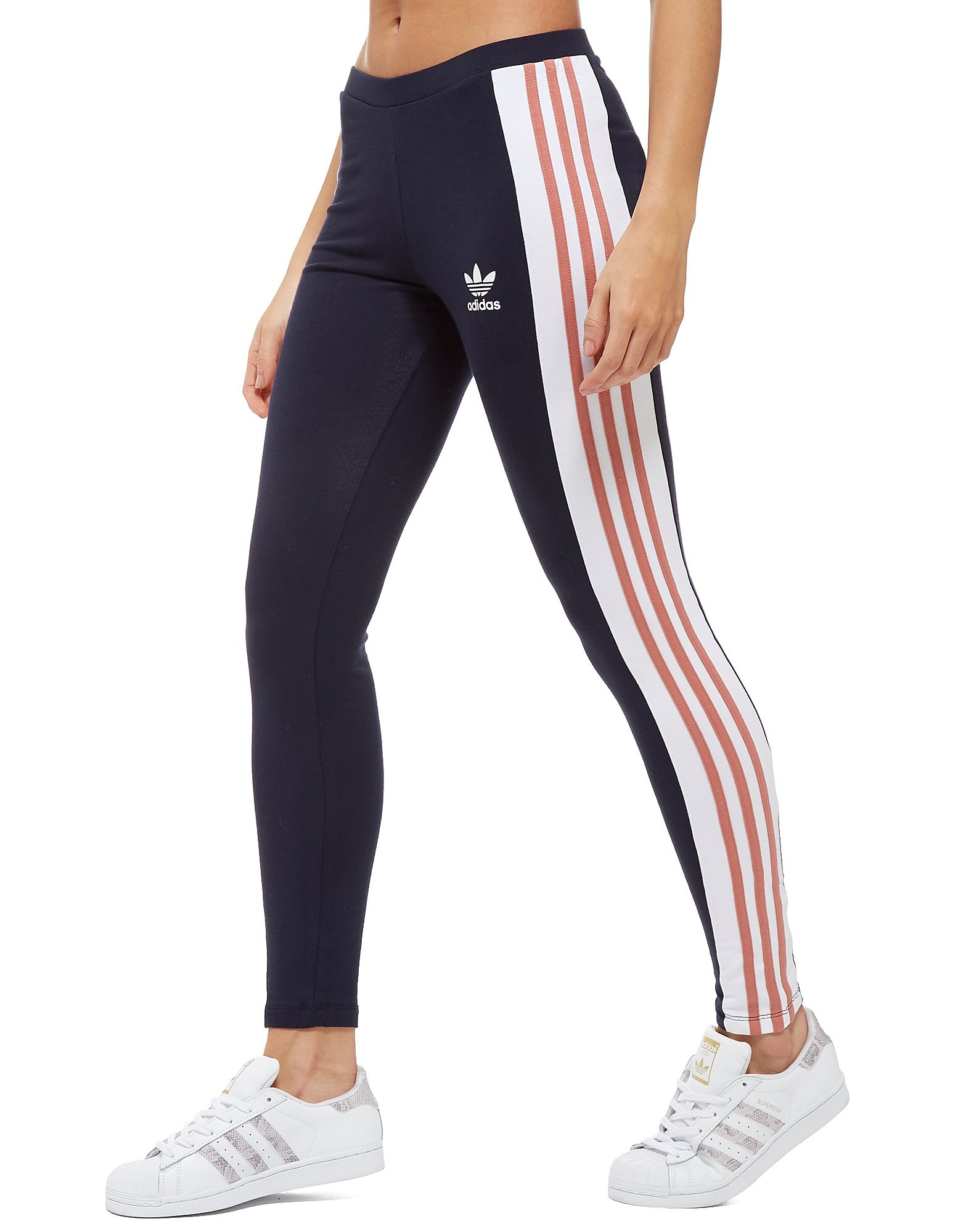 adidas Originals 3-Stripes Panel Leggings Marineblau-Pink - Navy/Pink - Womens, Navy/Pink
