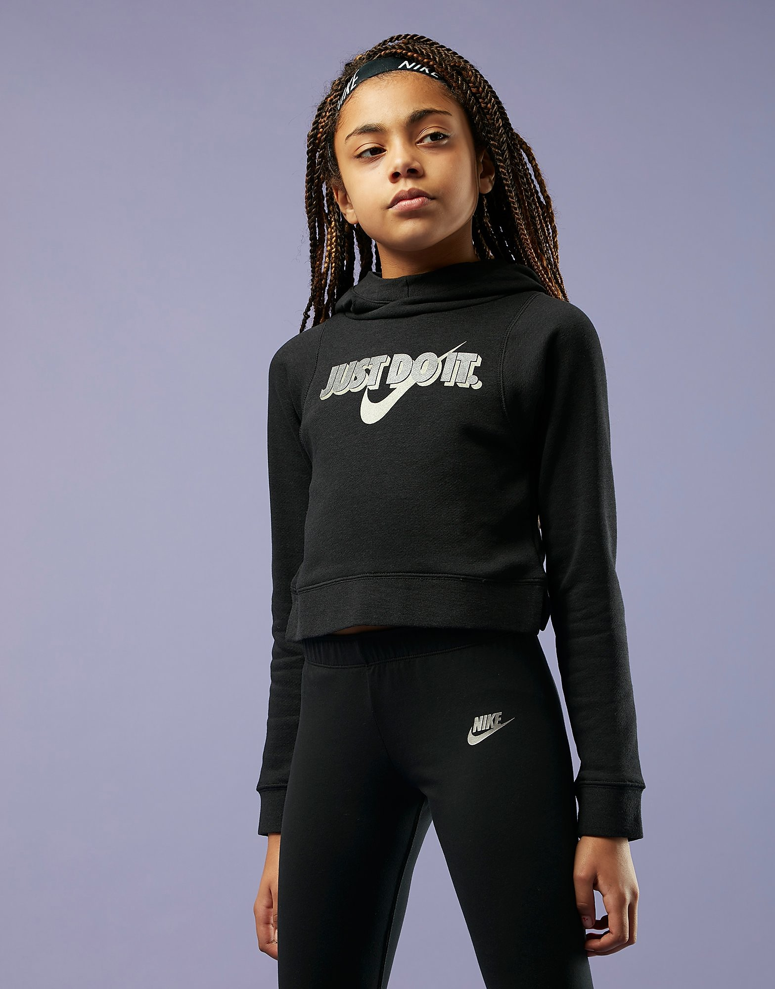 Nike Just Do It Crop Felpa con Cappuccio Junior
