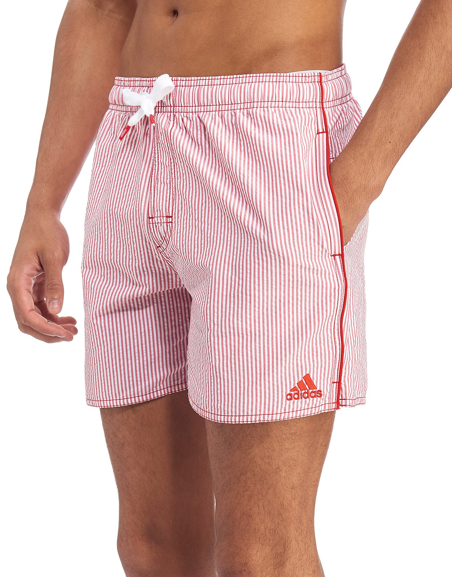 c96439afb4 adidas Stripe Swim Shorts - Scarlet/ White - Mens - Sports King Store