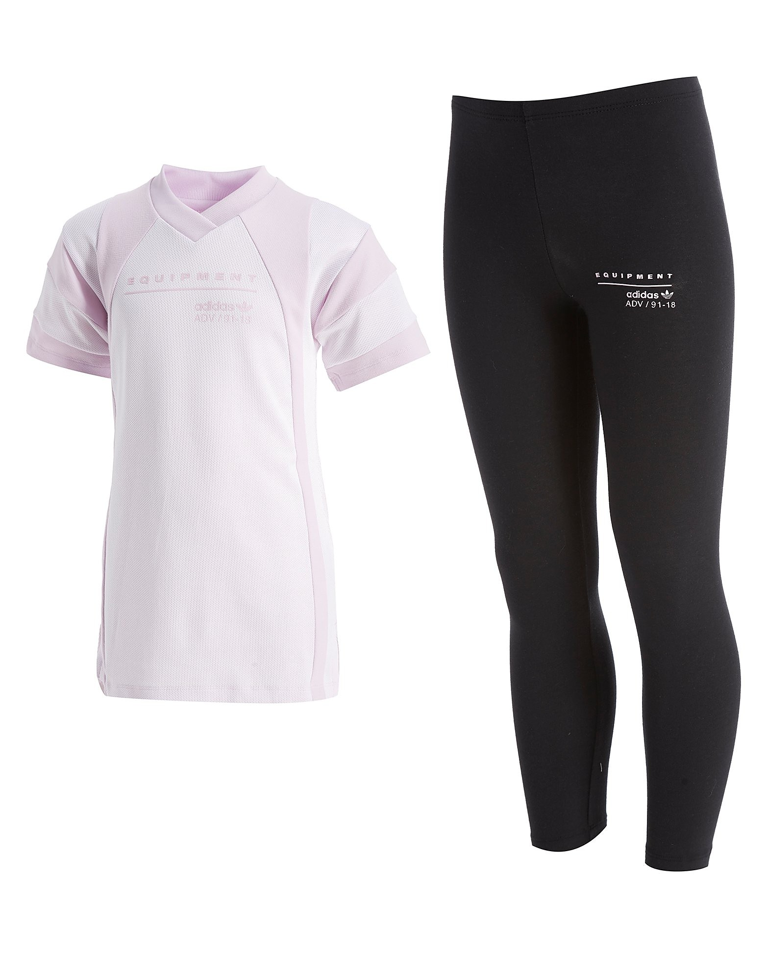 adidas Originals Girls' EQT T-Shirt & Legging Set Kinderen - Light Purple/Black - Kind