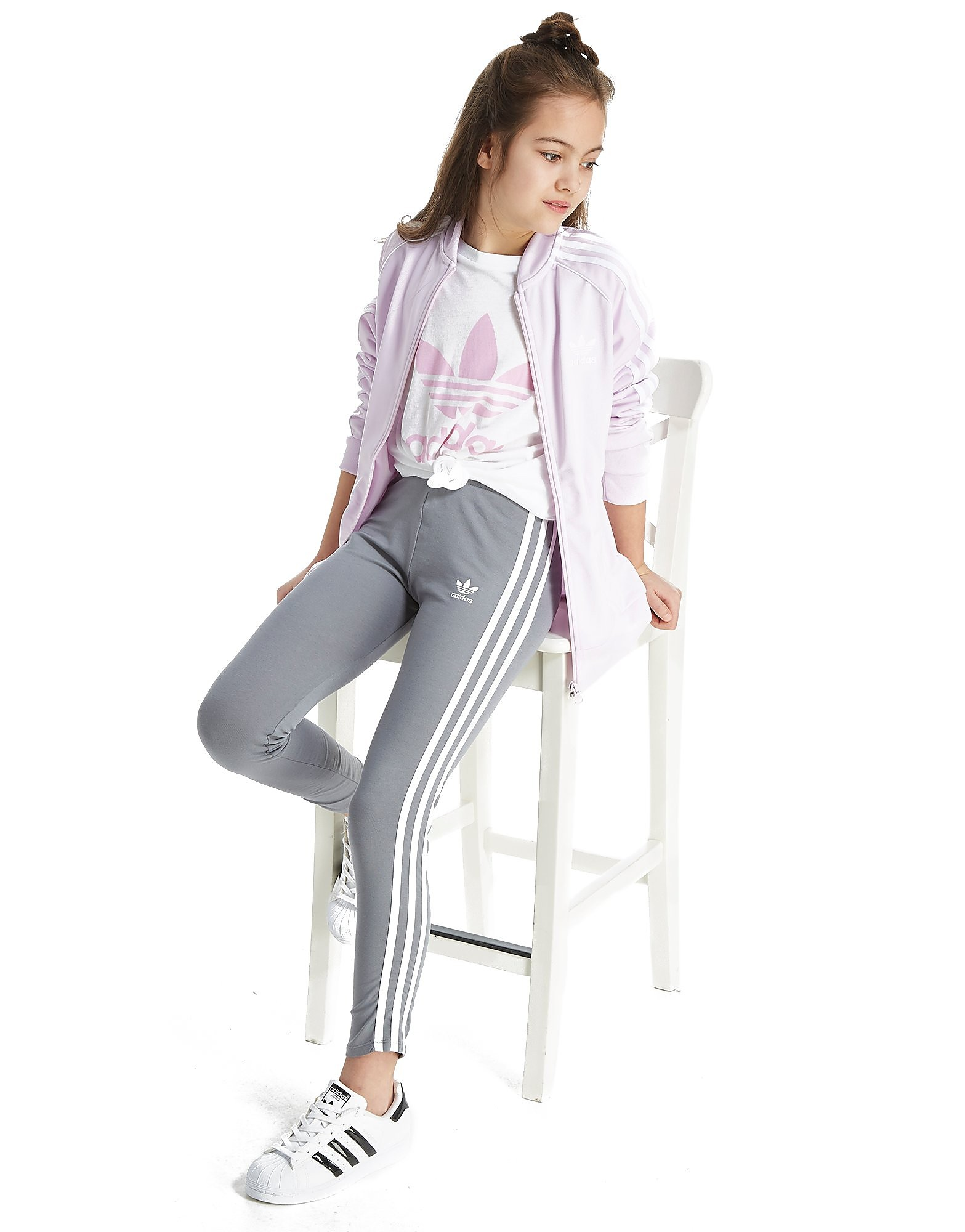 adidas Originals Girls' Trefoil 3 Stripes Leggings Junior Grau