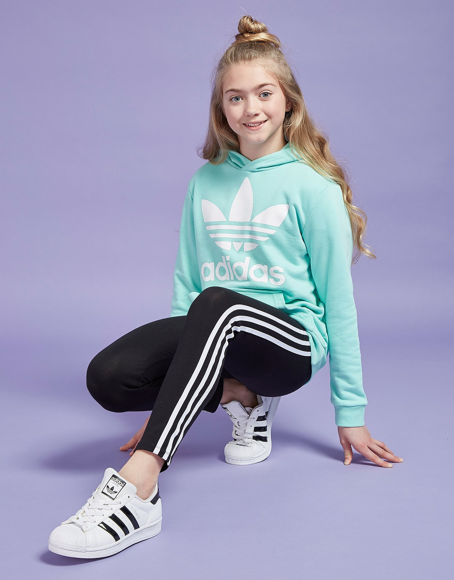 adidas Originals Girls' Trefoil Hoodie Junior