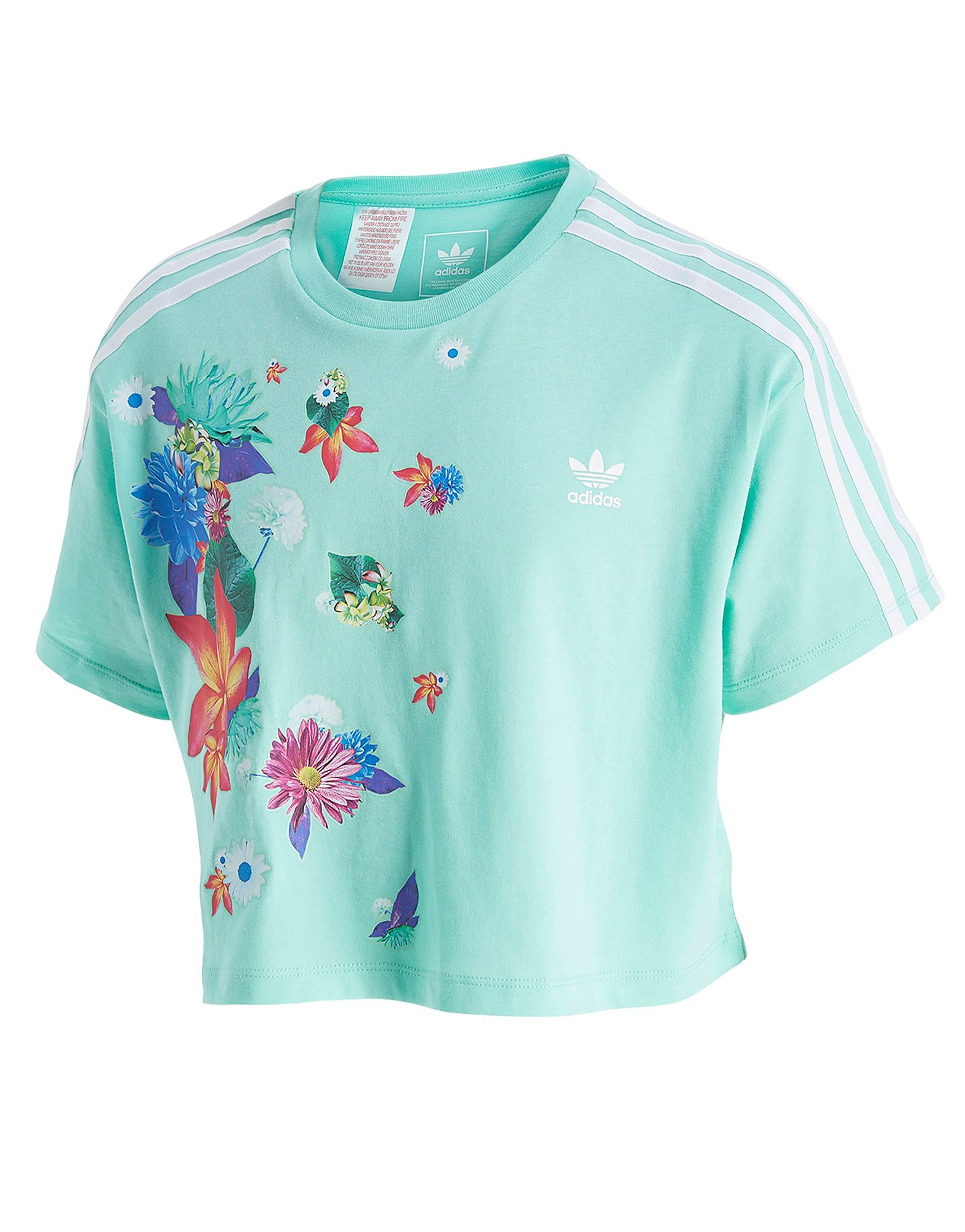 adidas Originals Girls' Floral Crop T-Shirt Junior
