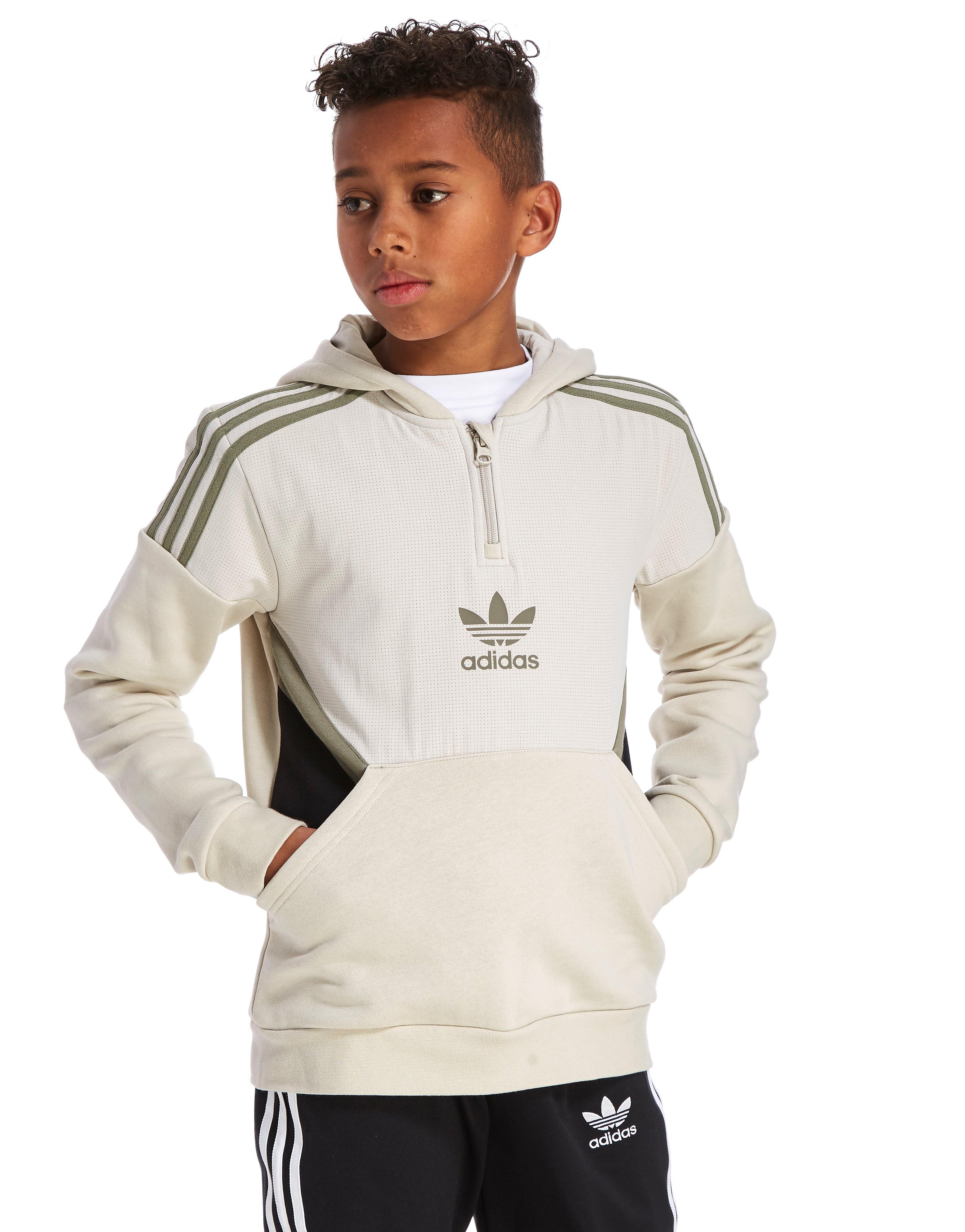 adidas Originals Europe 1/4 Zip Hoodie Junior - Only at JD - blanc, blanc