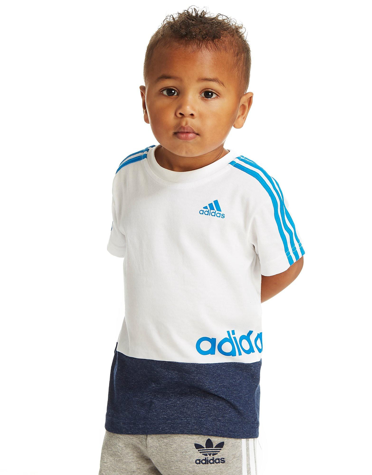 adidas Linear-t-shirt med farveblok – små børn