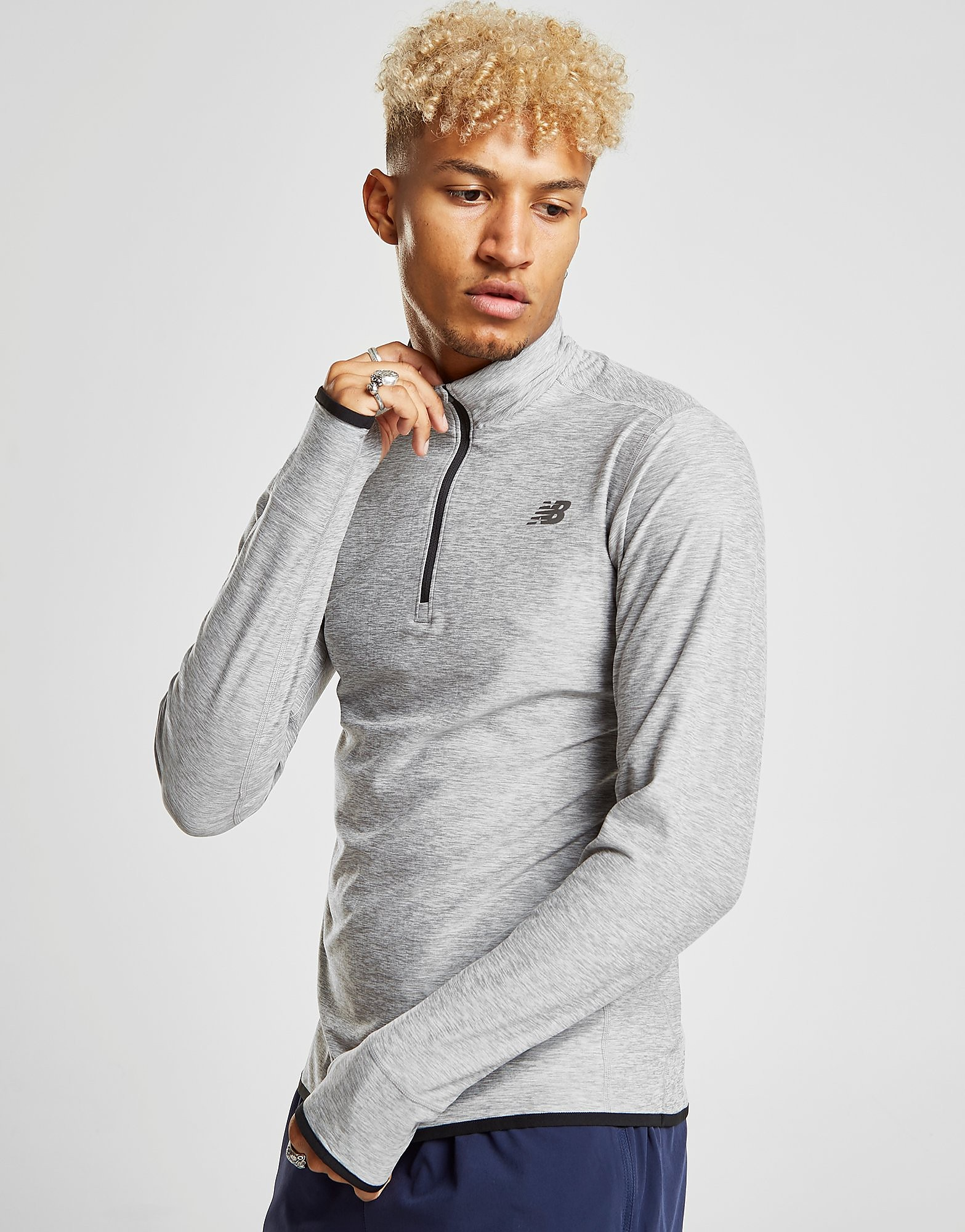 New Balance Transit 1/4 Zip Top - Grey, Grey
