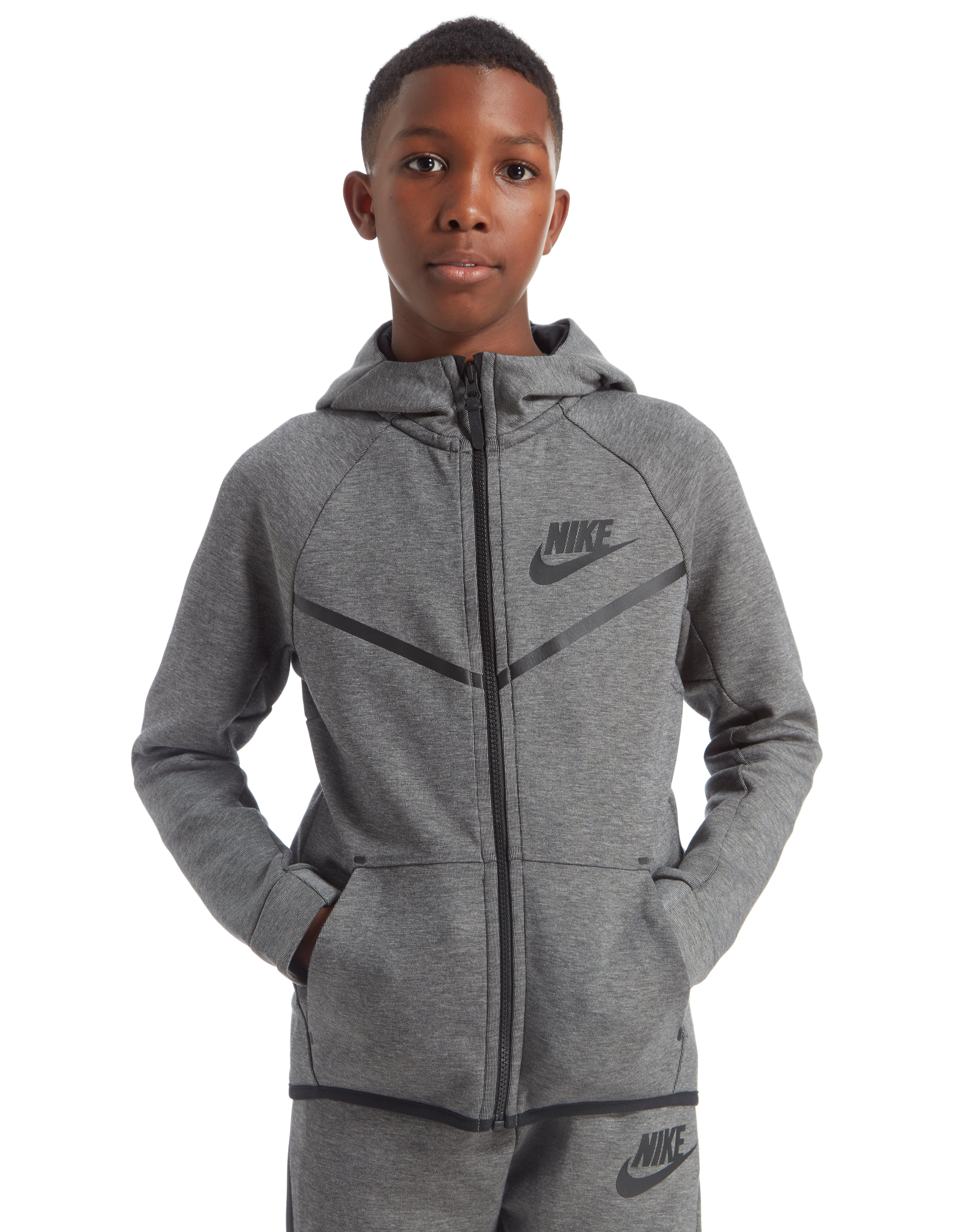 0b6a9c21e5b Nike Tech Windrunner Hoody Junior - Dark Grey/Black - Kids - Sports ...