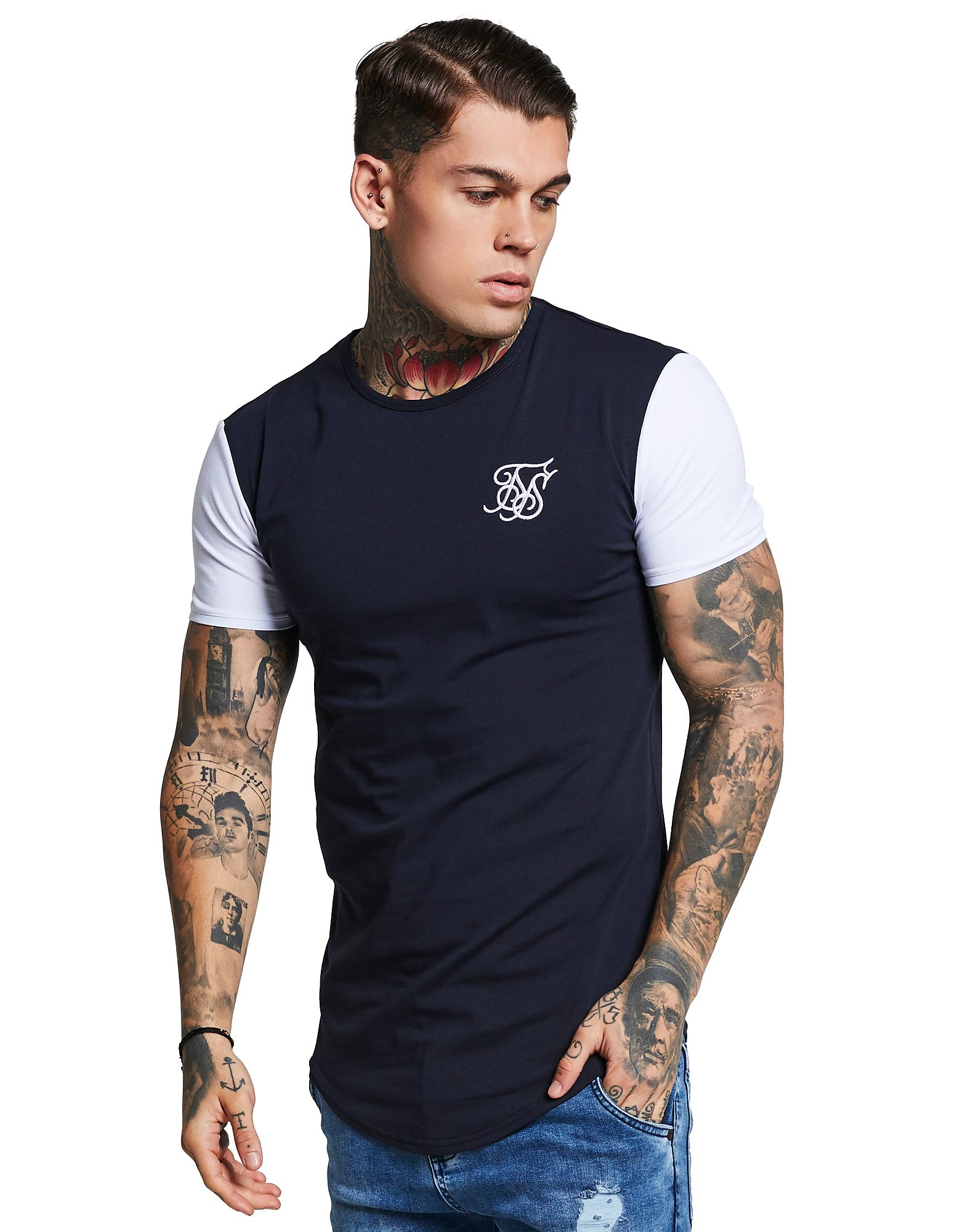 SikSilk camiseta Contrasting Sleeve