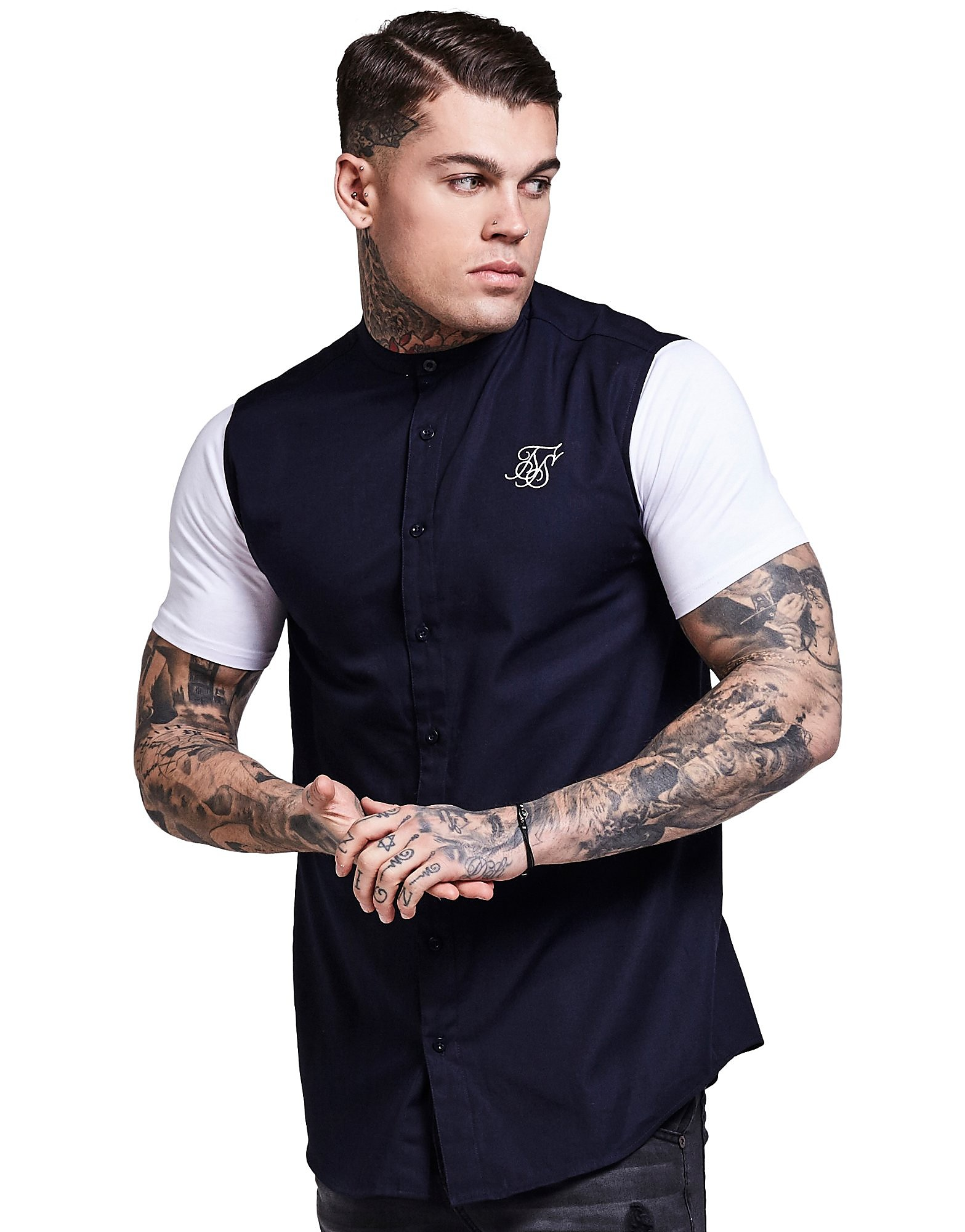 SikSilk Contrasting Sleeve Shirt