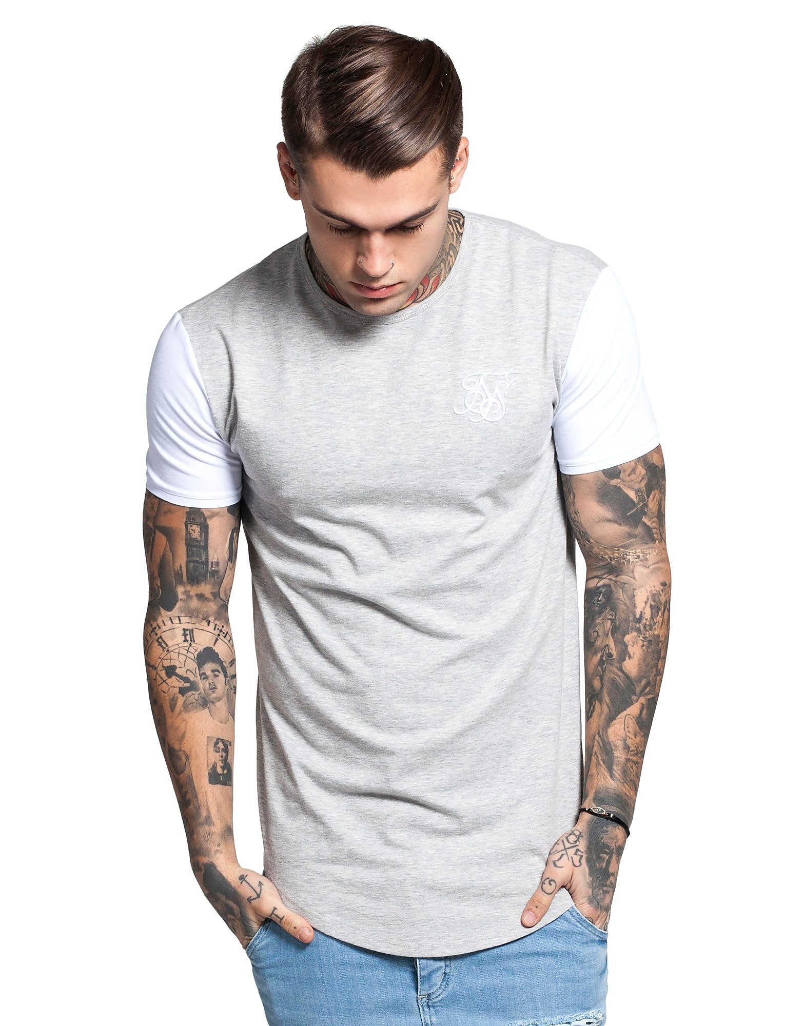 SikSilk Contrasting Sleeve T-Shirt