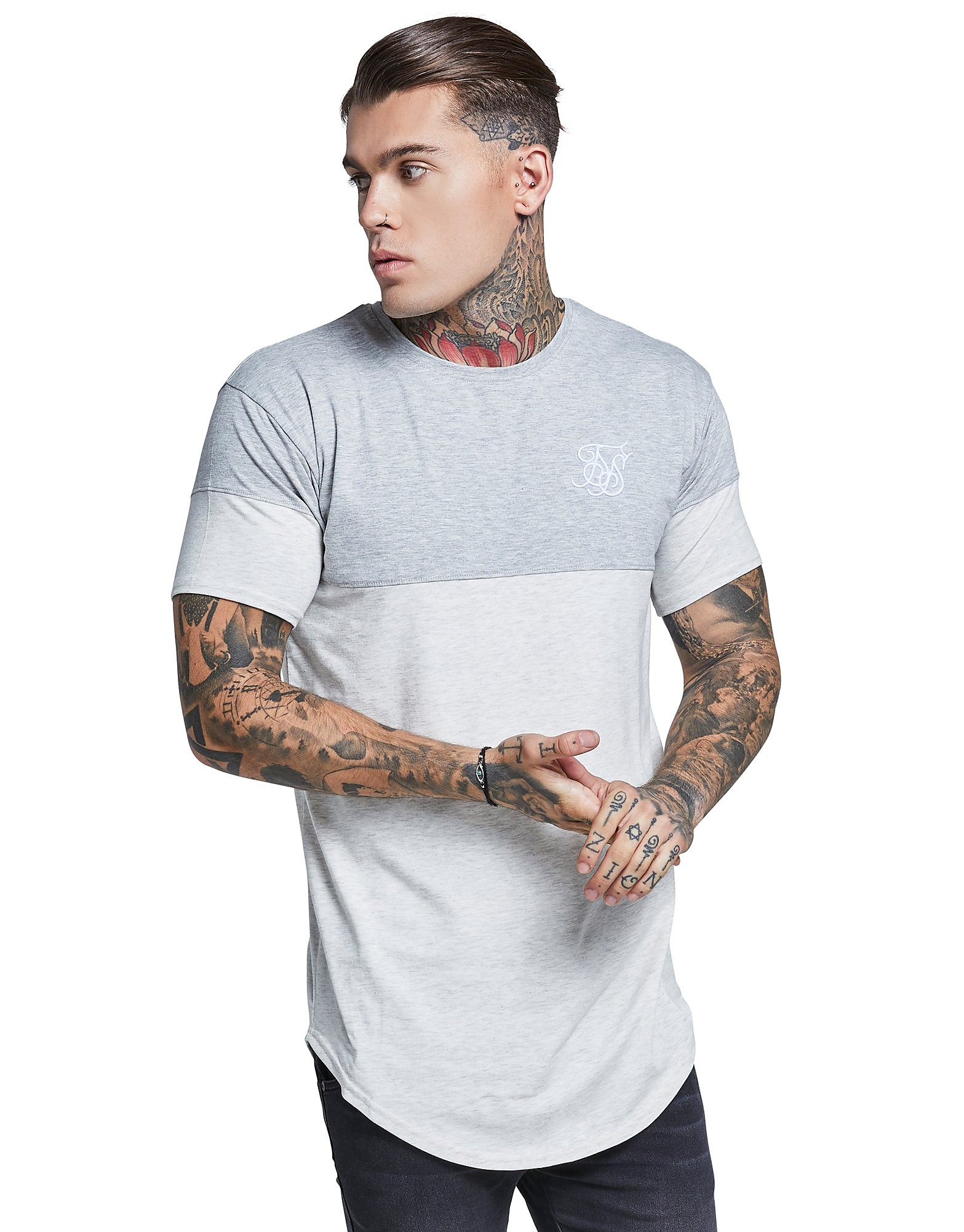 SikSilk Contrasting Panel T-Shirt