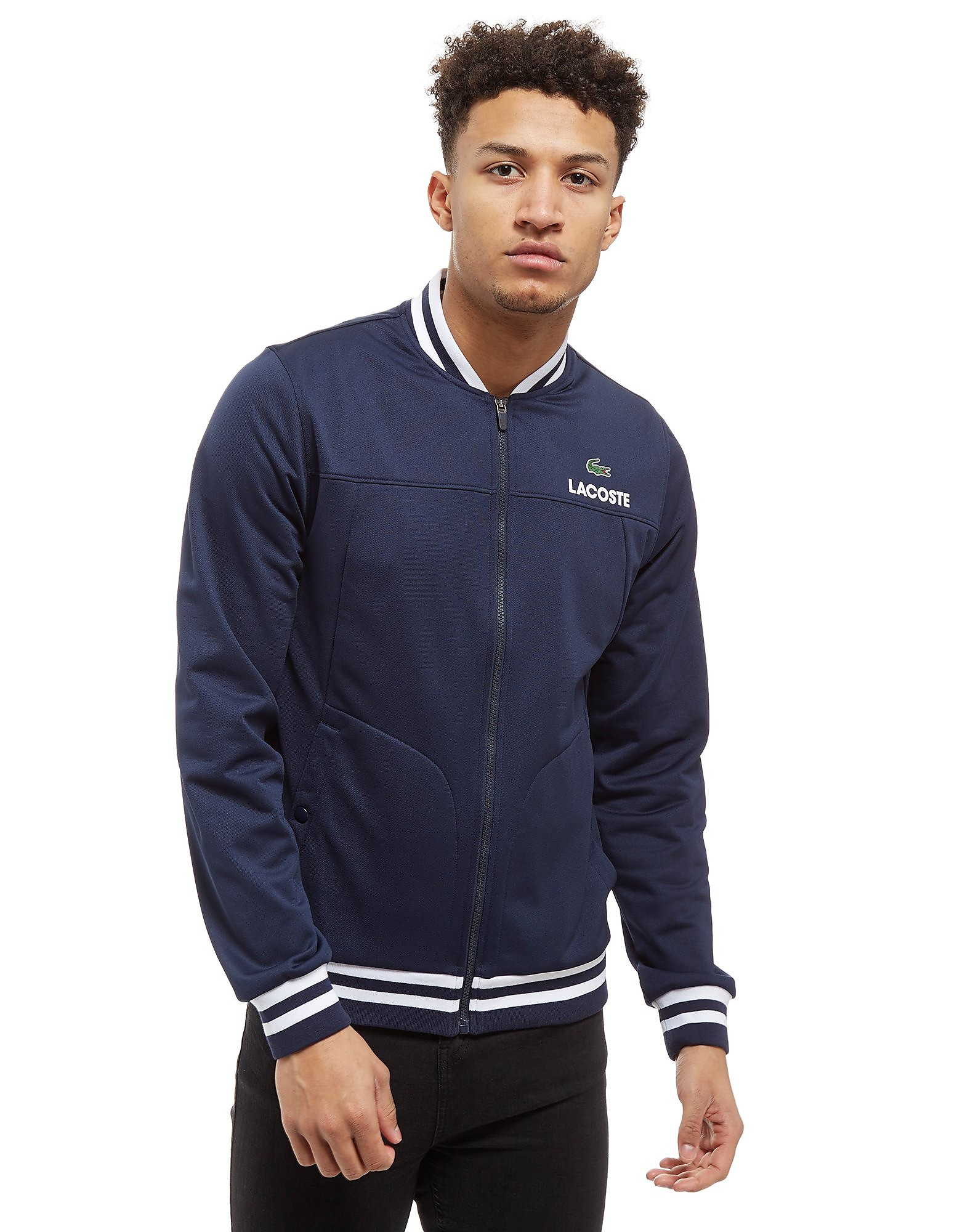 Lacoste Tipped Zip Through Fleece Bomber Jacket