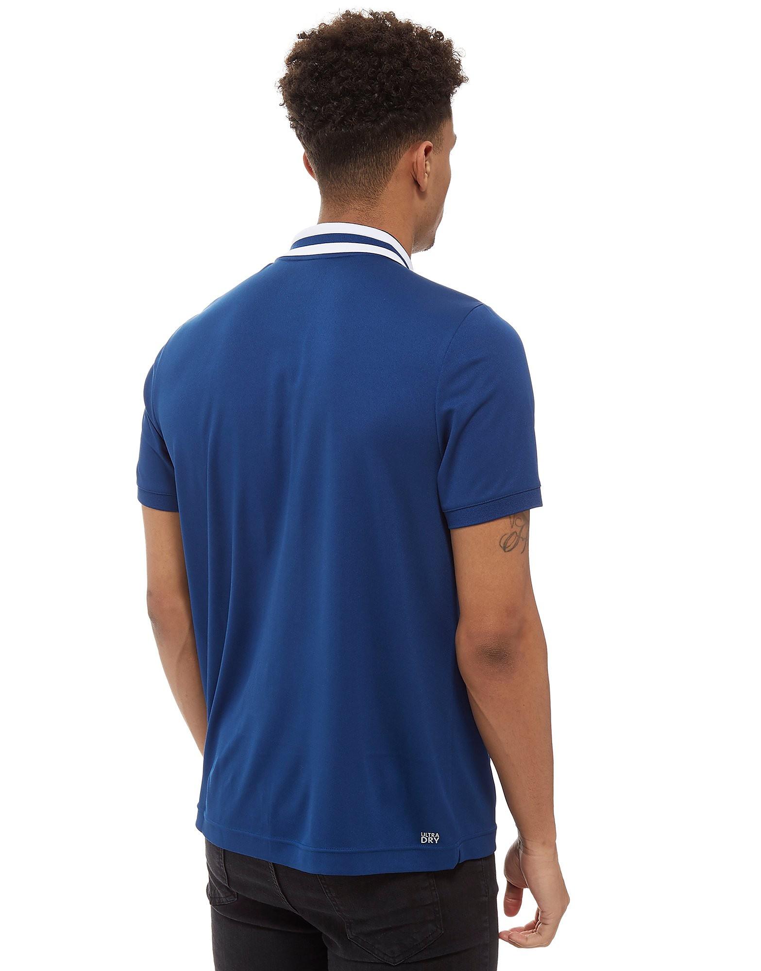 Lacoste Zip Neck Stripe Short Sleeve Polo Shirt
