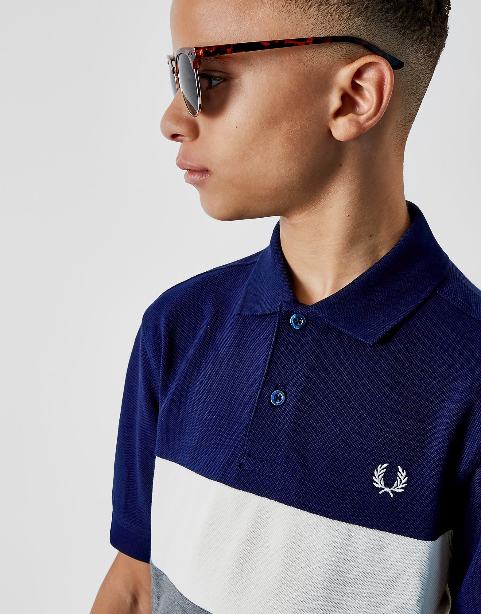 Fred Perry Panel Polo Shirt Junior Blauw Kind