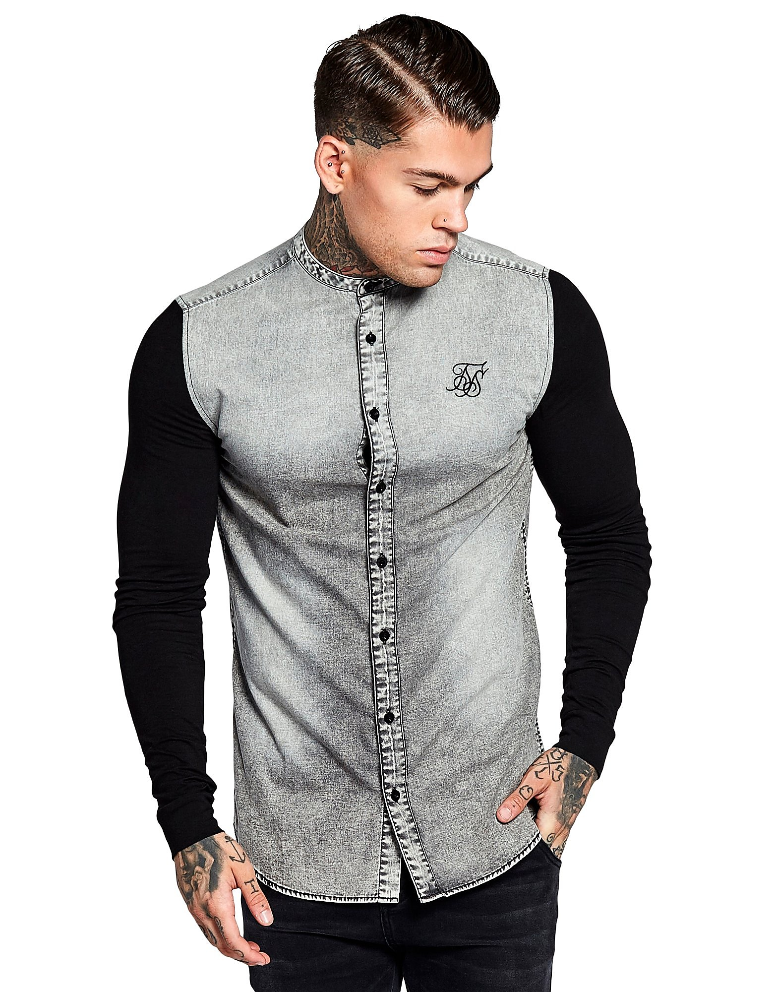 SikSilk Denim Long Sleeve Shirt Heren