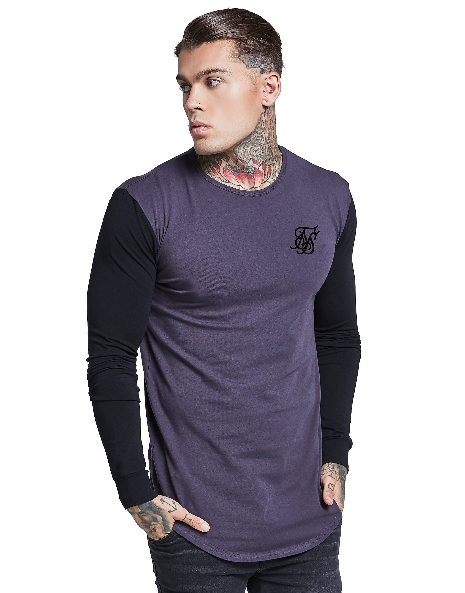 SikSilk Long Sleeve Contrast T-Shirt