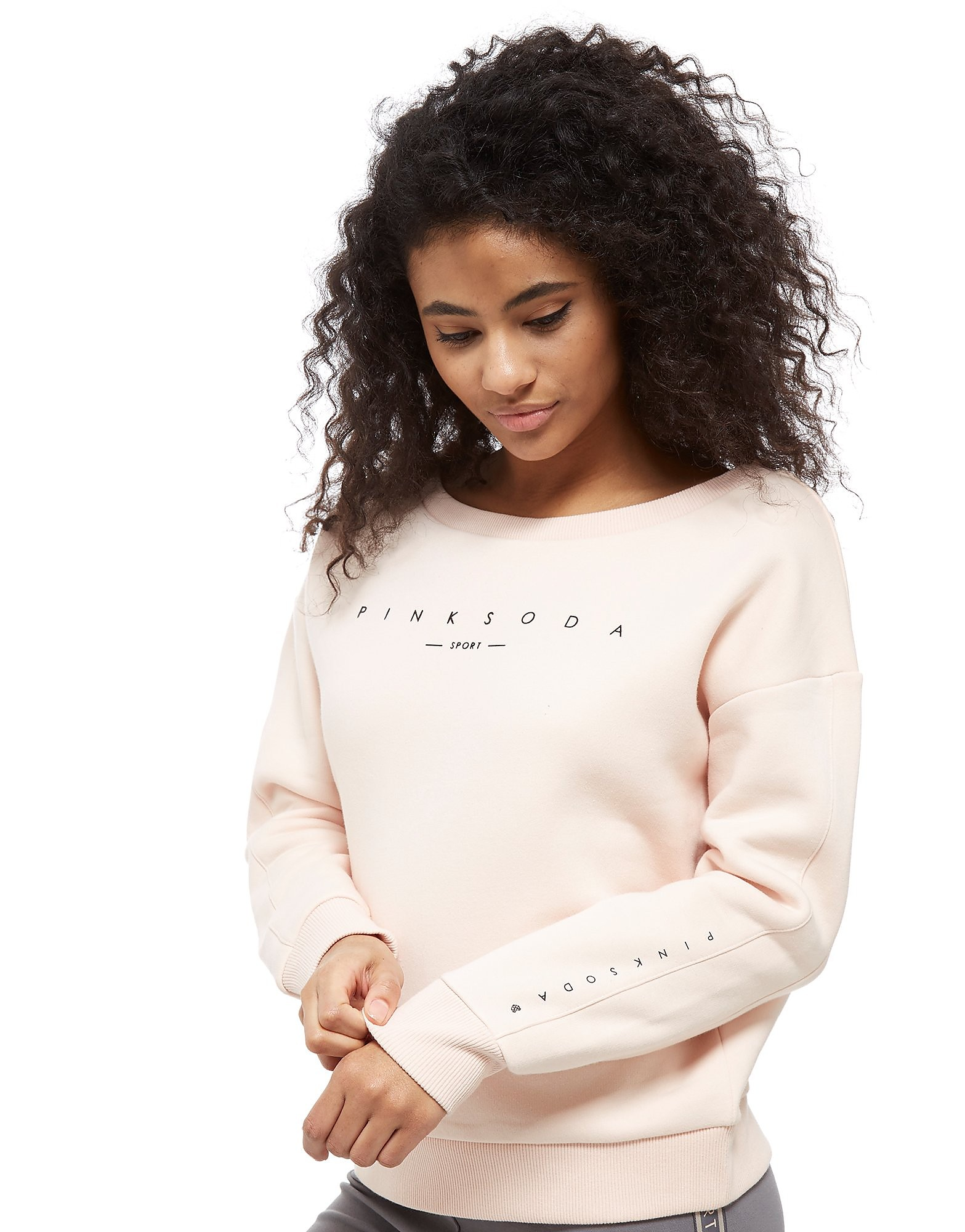 Pink Soda Sport Off The Shoulder Crop Crew Sweatshirt Femme