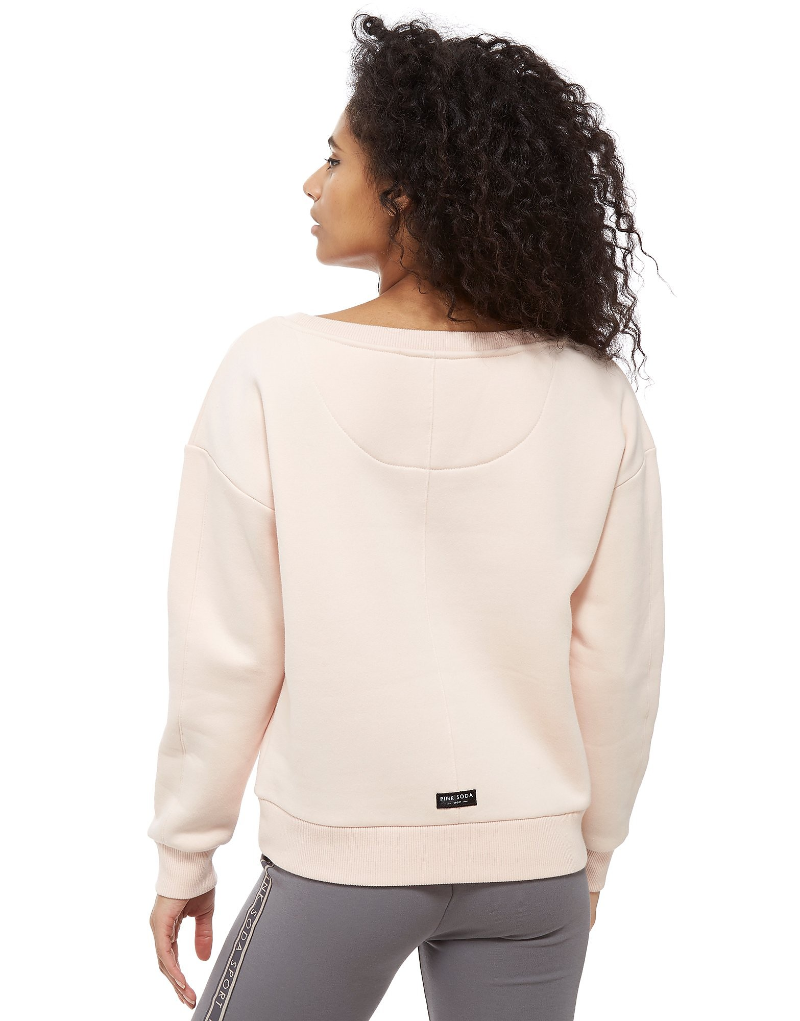 Pink Soda Sport Off The Shoulder Crop Crew Sweatshirt