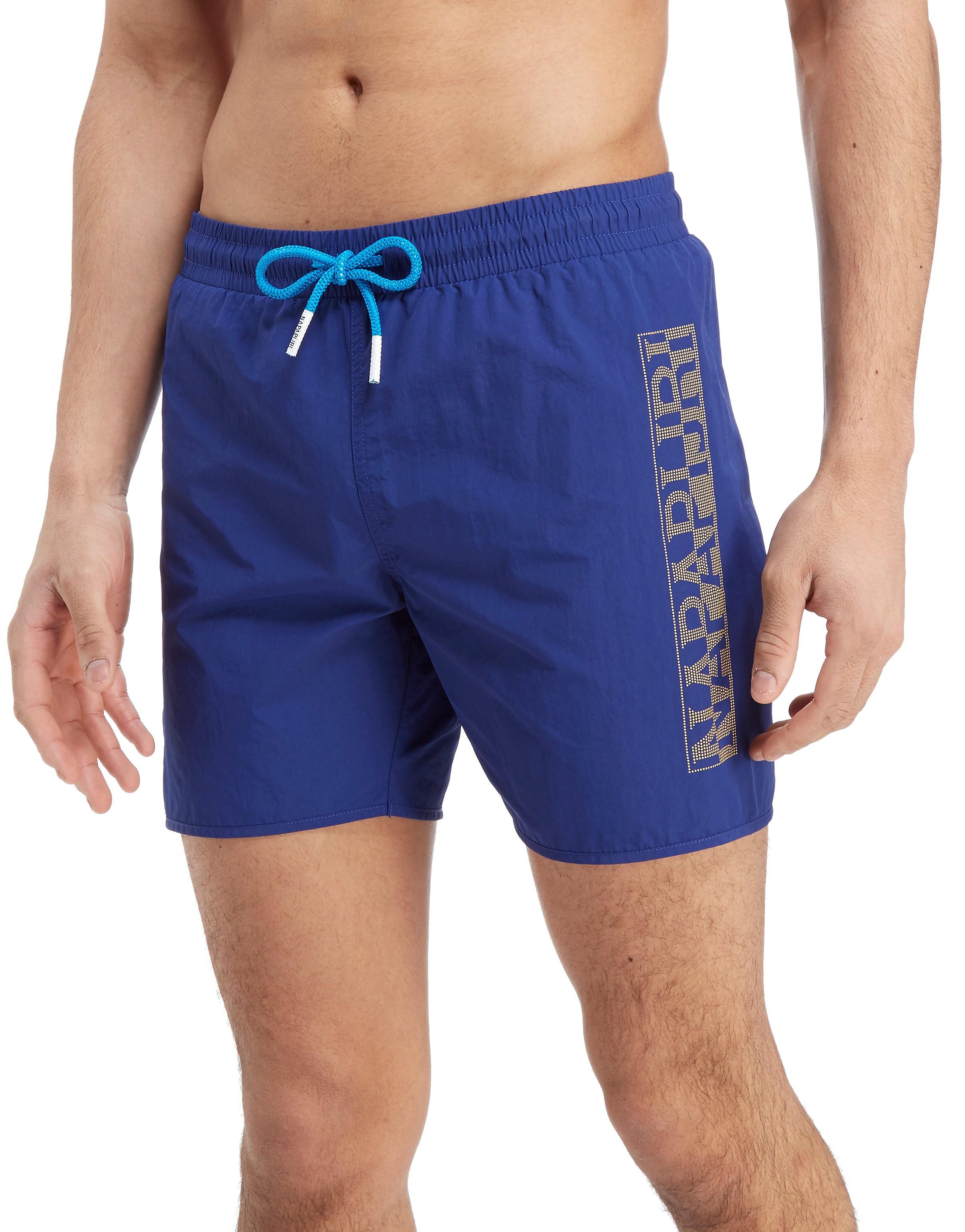Napapijri Short de bain Side Logo Homme - Bleu, Bleu