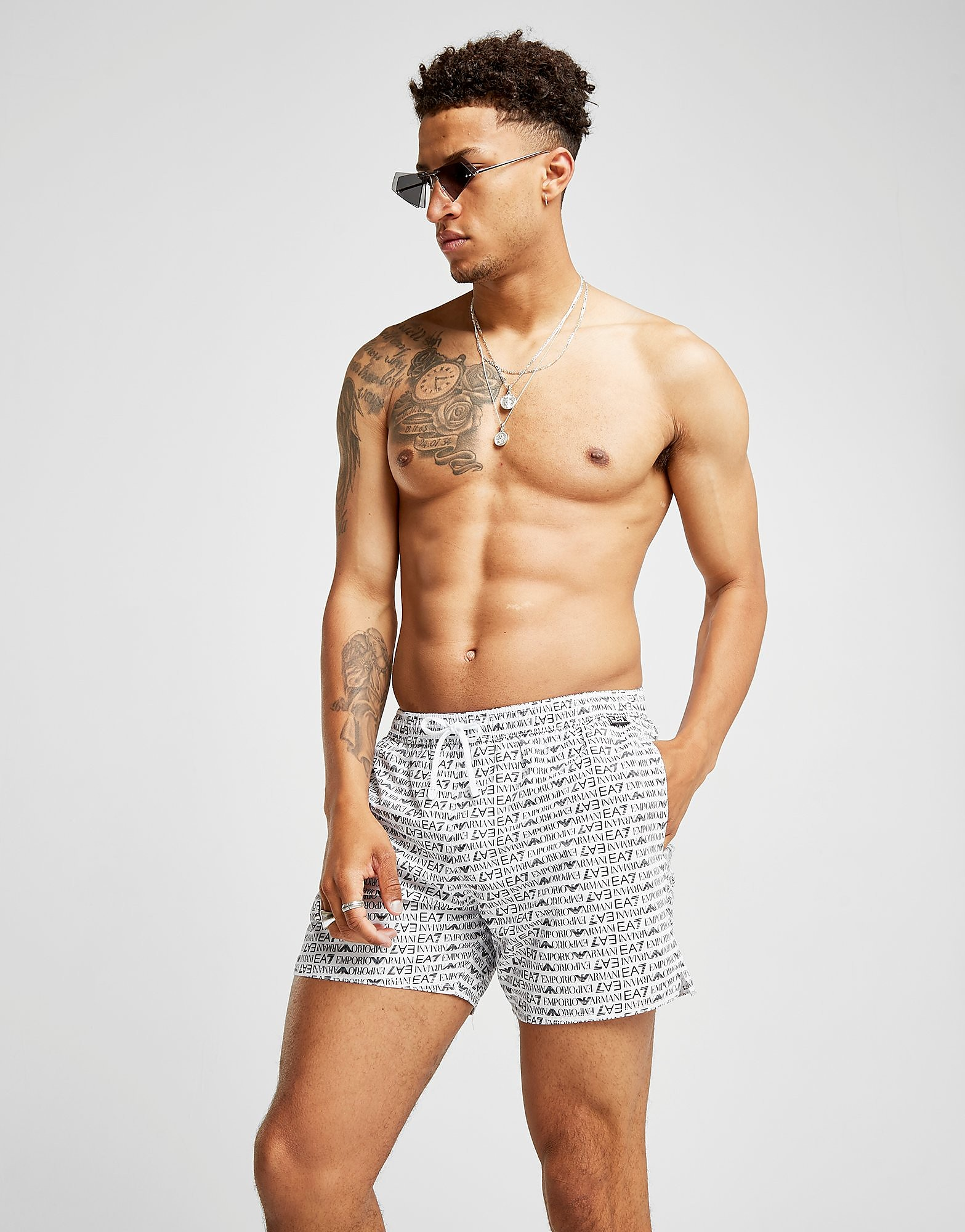 Emporio Armani EA7 All Over Print Swim Shorts Heren
