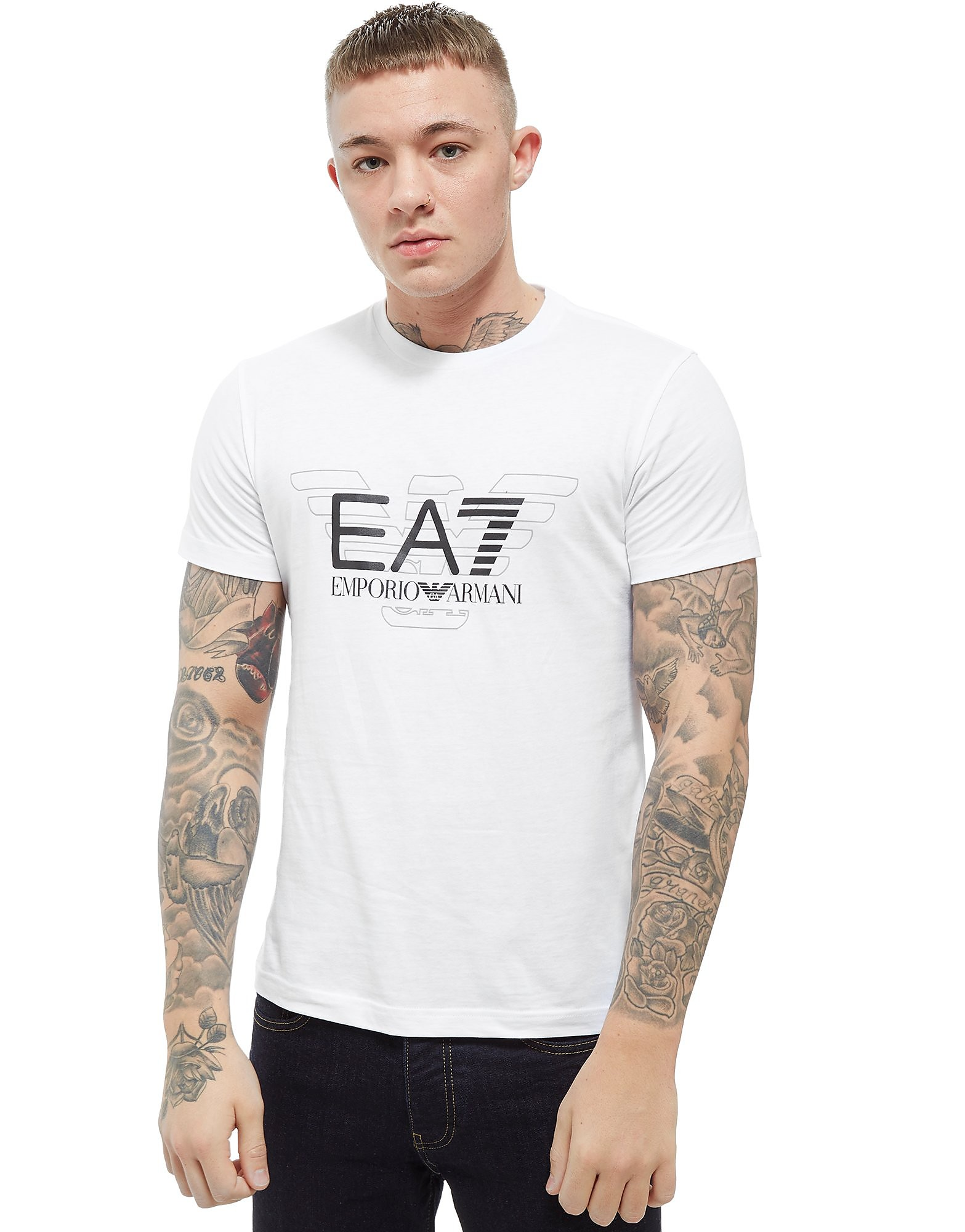Emporio Armani EA7 Overlay Eagle Short Sleeve T-Shirt Heren