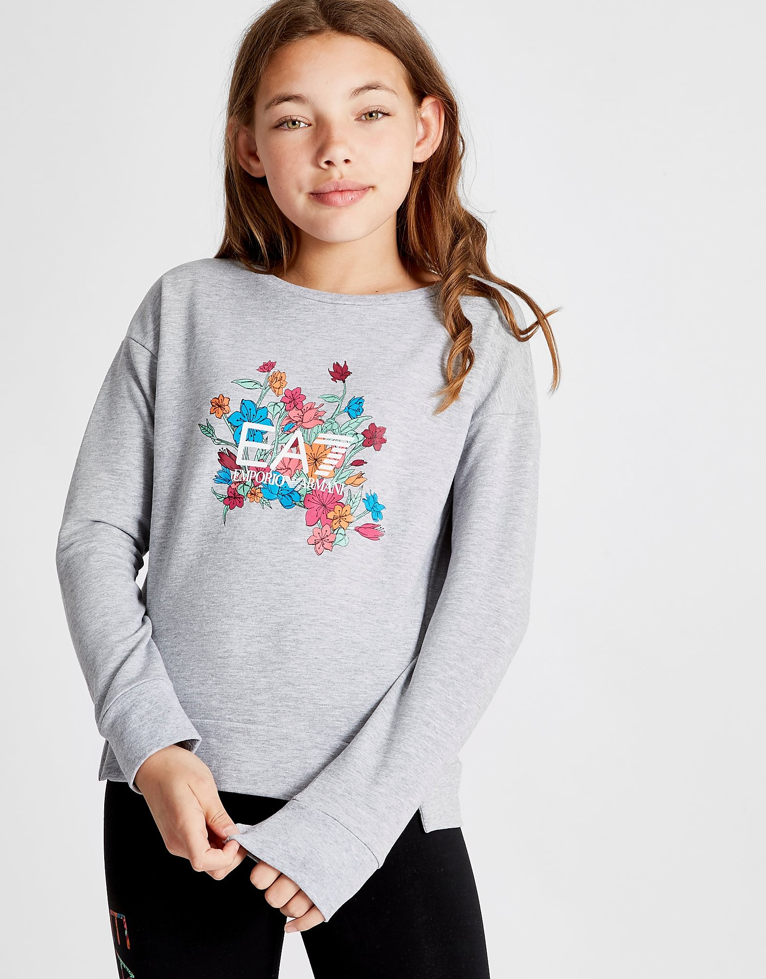 Emporio Armani EA7 Girls' Floral Fleece Crew Sweatshirt Junior - Grijs - Kind