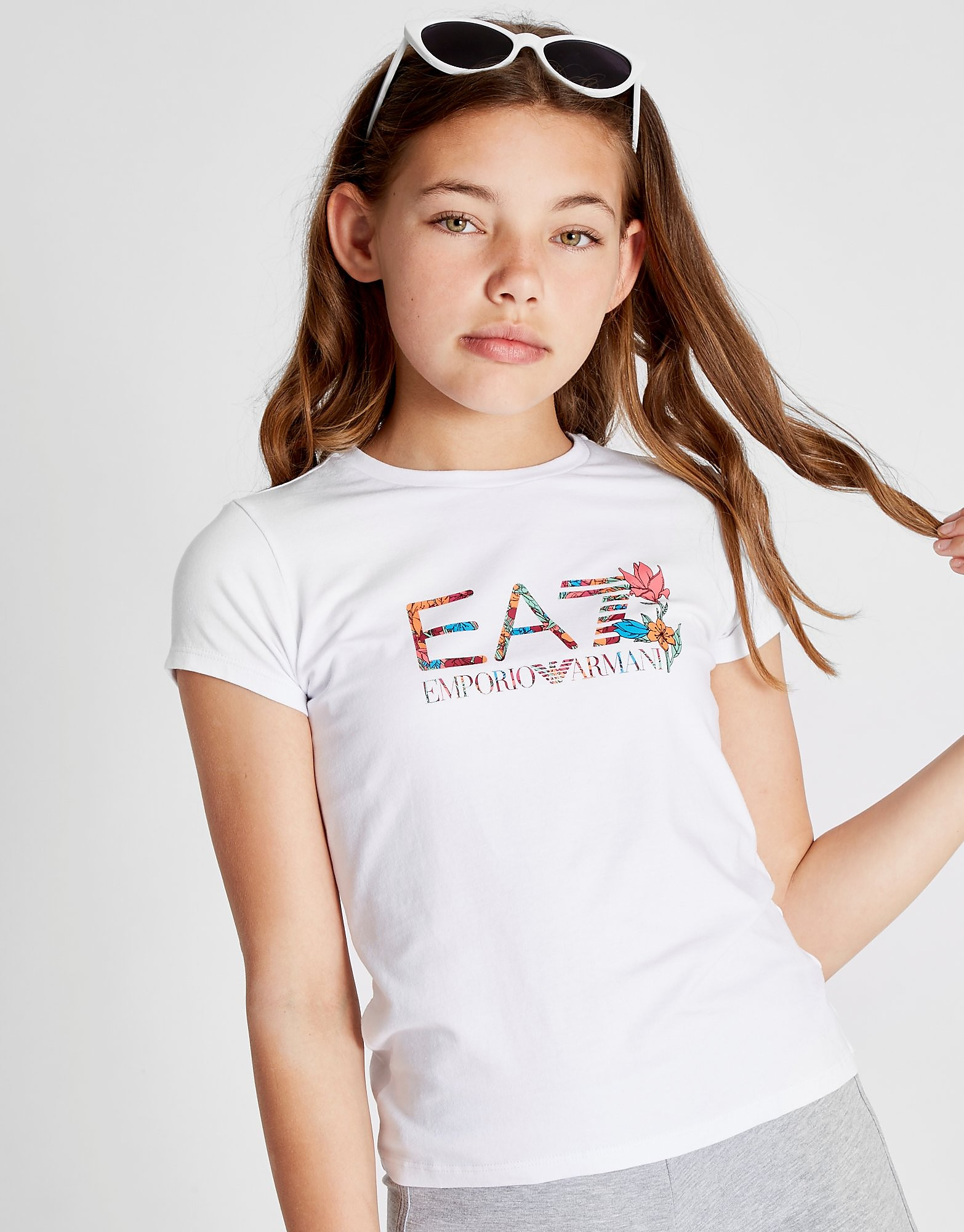 Emporio Armani EA7 Girls' Floral Logo T-Shirt Junior - Wit - Kind