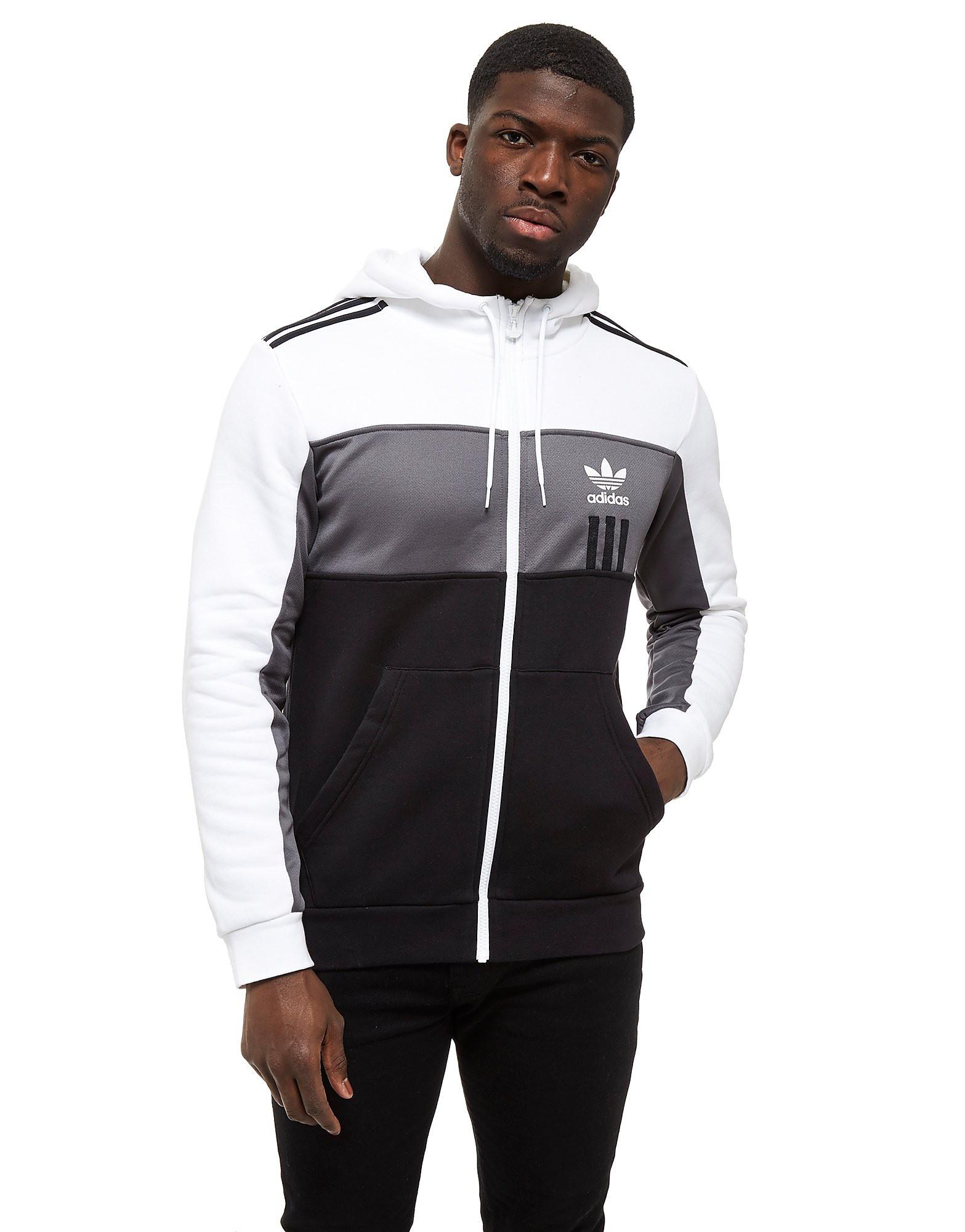 adidas Originals ID96 Voller Reißverschluss Kapuzenpullover Weiß-Schwarz