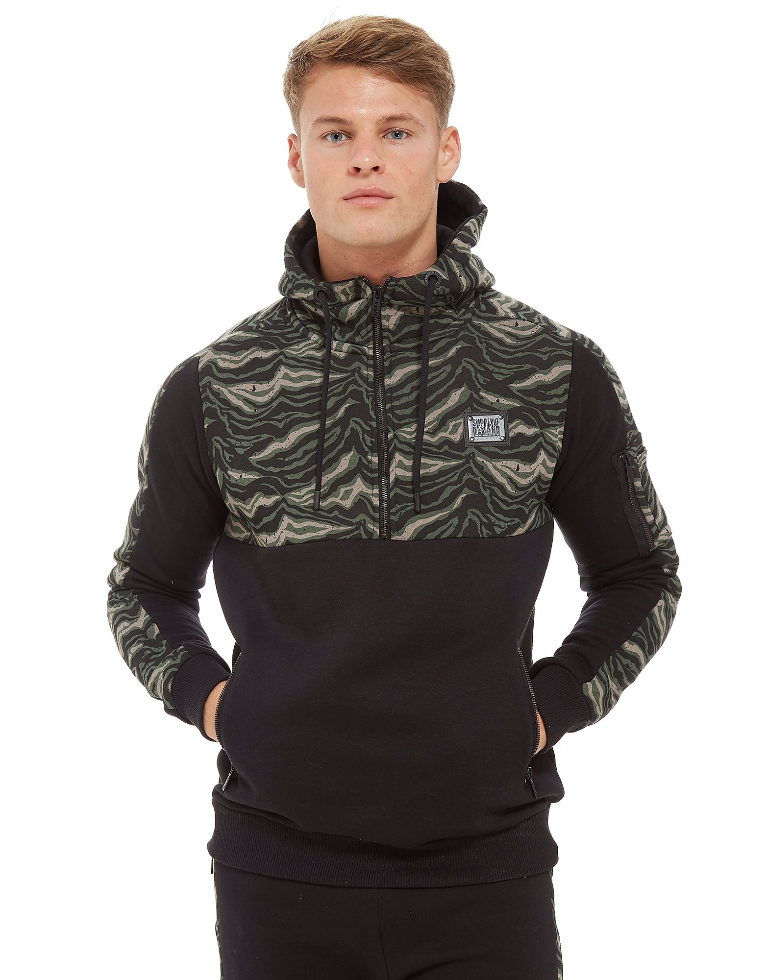 Supply & Demand Tiger Camo 1/2 Zip Hoodie - Only at JD, Black