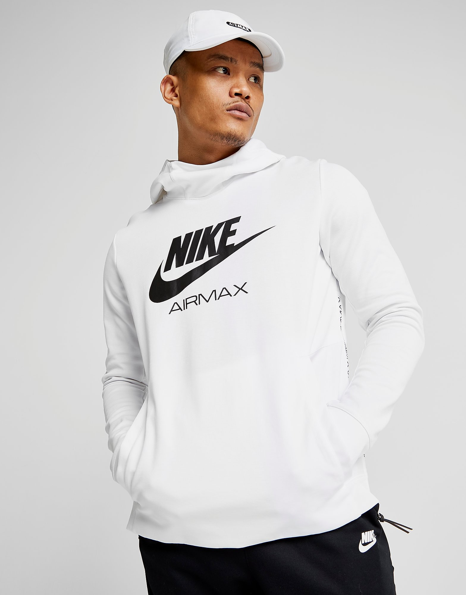 Nike Air Max Poly Overhead Hoodie - Only at JD - White/Black - Mens, White/Black